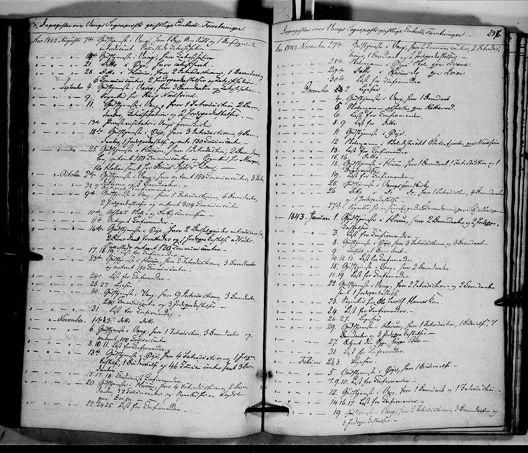 SAH, Vang prestekontor, Valdres, Ministerialbok nr. 5, 1831-1845, s. 236