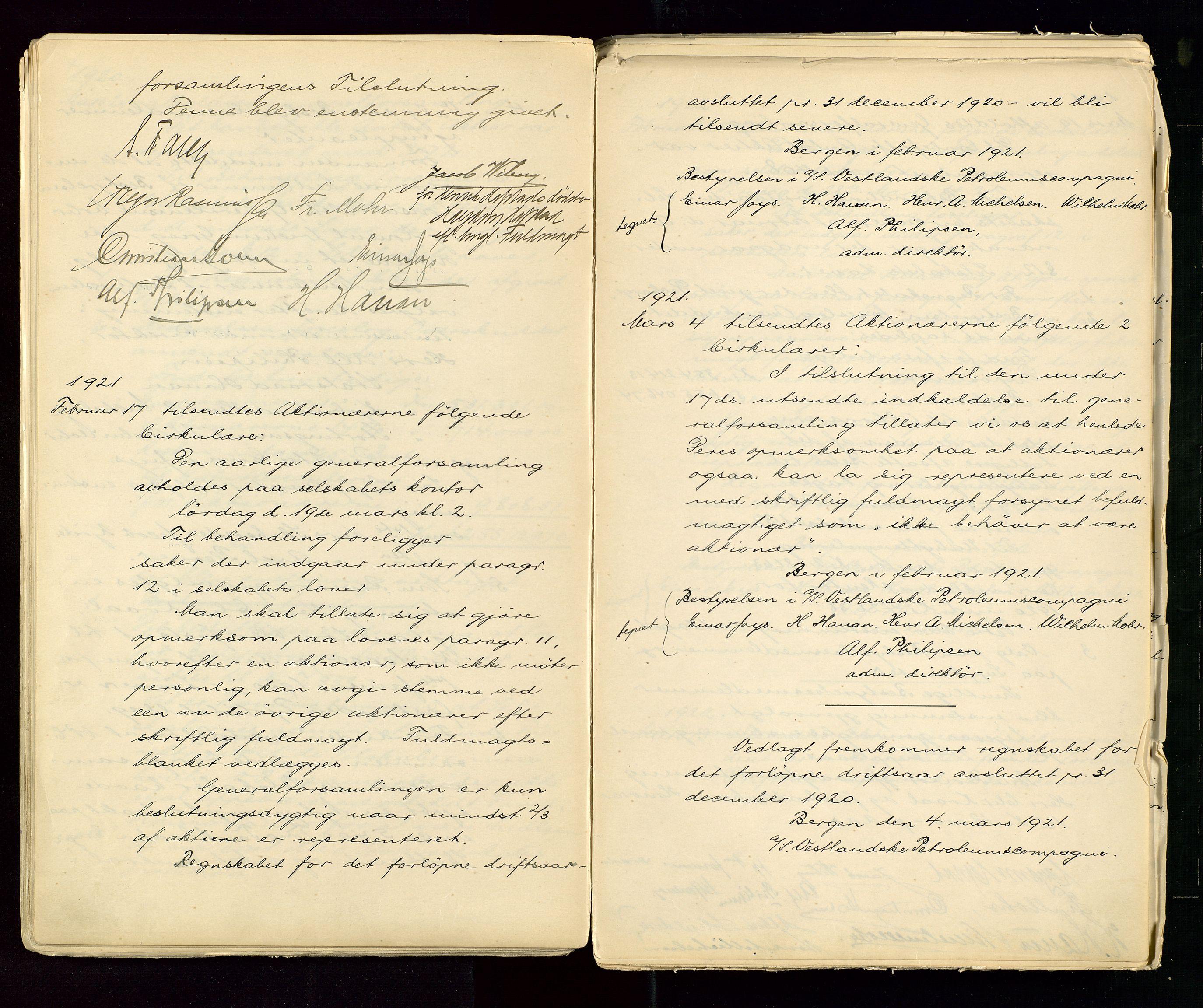 SAST, PA 1533 - A/S Vestlandske Petroleumscompani, A/Aa/L0001: Generalforsamlinger og styreprotokoller, 1890-1953, s. 66