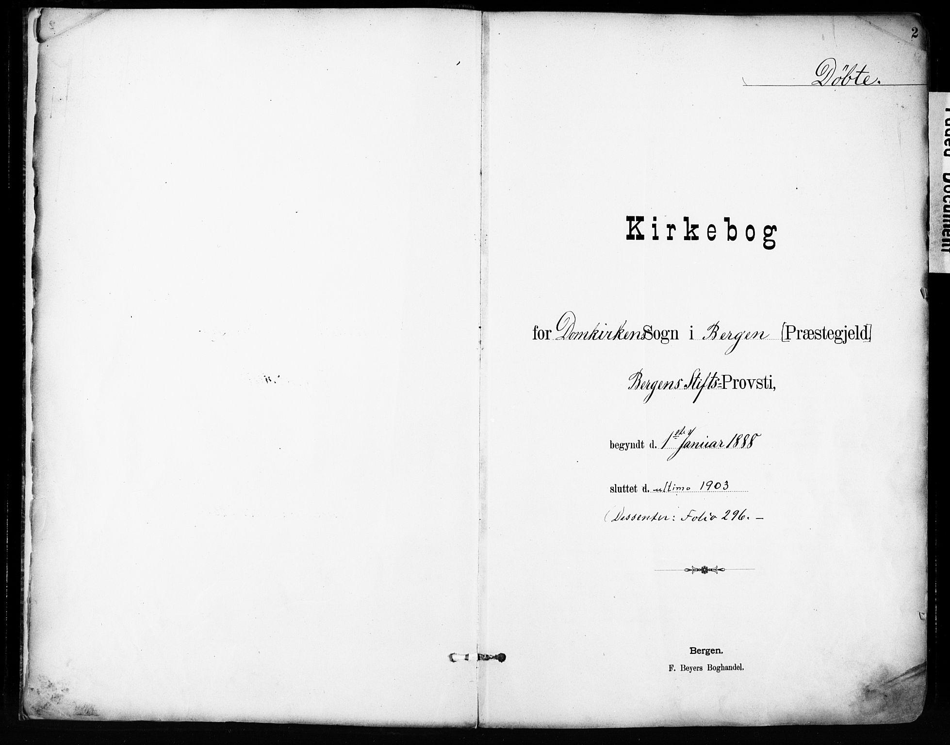 SAB, Domkirken Sokneprestembete, H/Haa/L0024: Ministerialbok nr. B 7, 1888-1903, s. 2