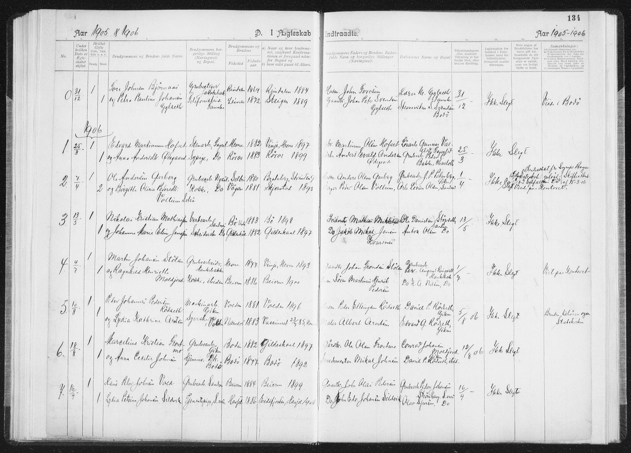 SAT, Ministerialprotokoller, klokkerbøker og fødselsregistre - Nordland, 850/L0711: Residerende kapellans bok nr. 850B01, 1902-1915, s. 134