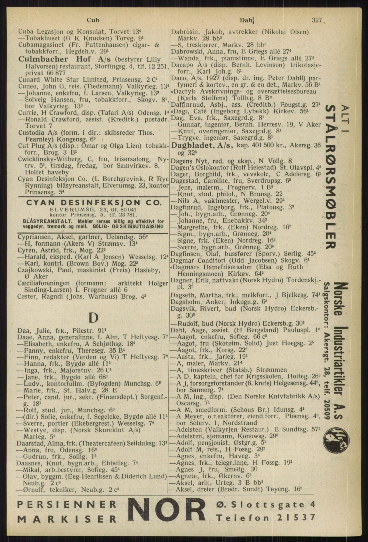RA, Oslo adressebok (publikasjon)*, 1936, s. 327