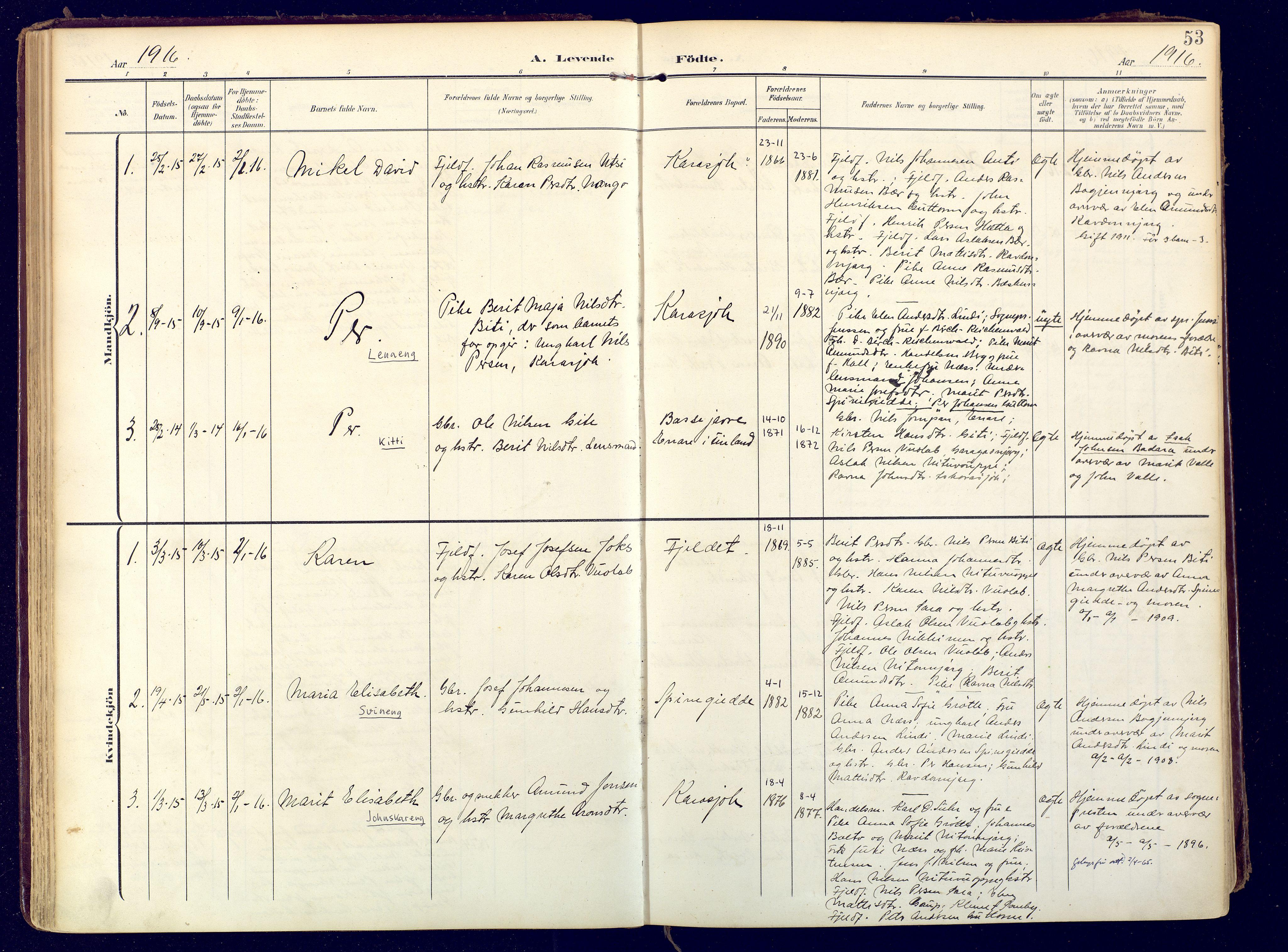 SATØ, Karasjok sokneprestkontor, H/Ha: Ministerialbok nr. 3, 1907-1926, s. 53