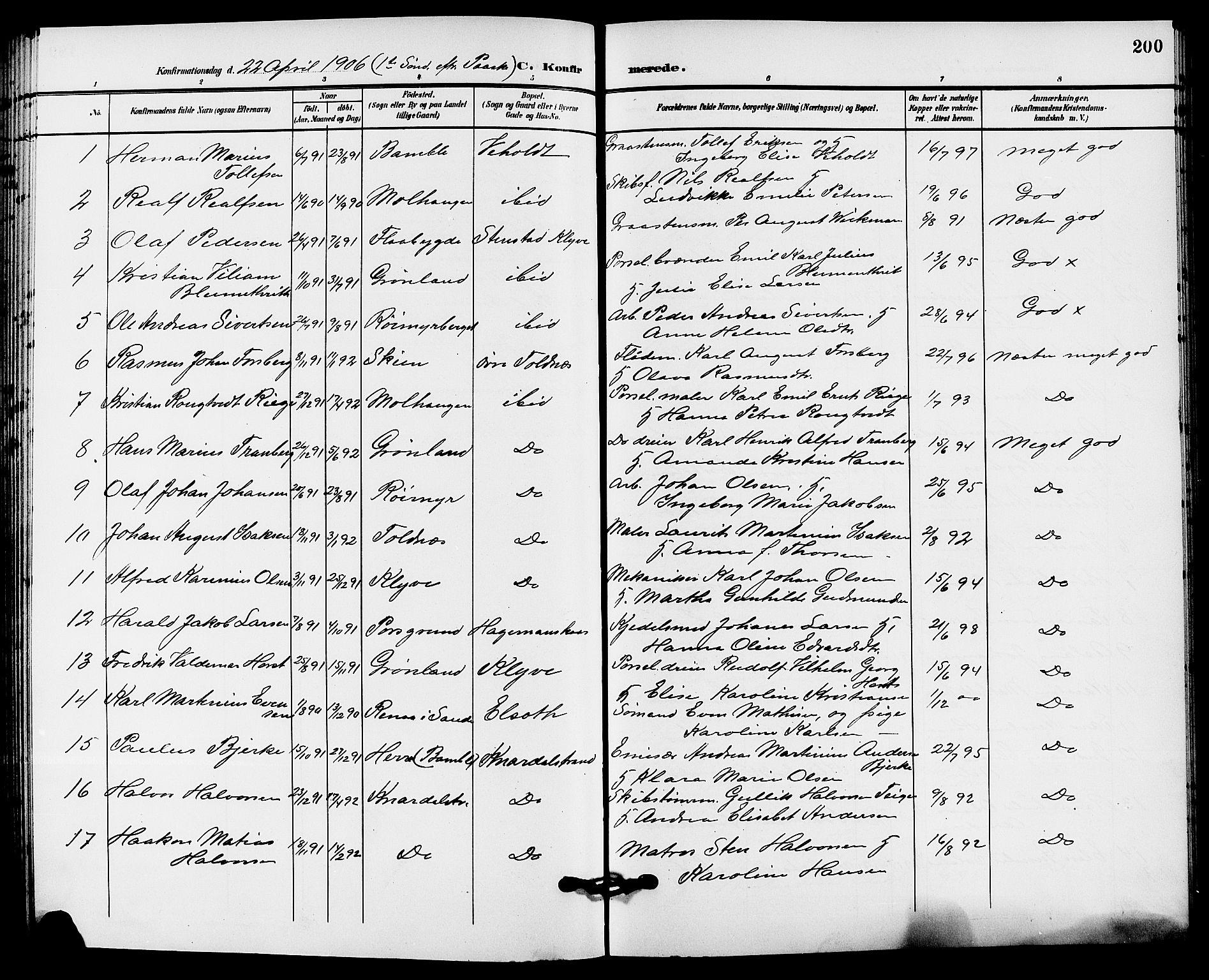 SAKO, Solum kirkebøker, G/Ga/L0008: Klokkerbok nr. I 8, 1898-1909, s. 200