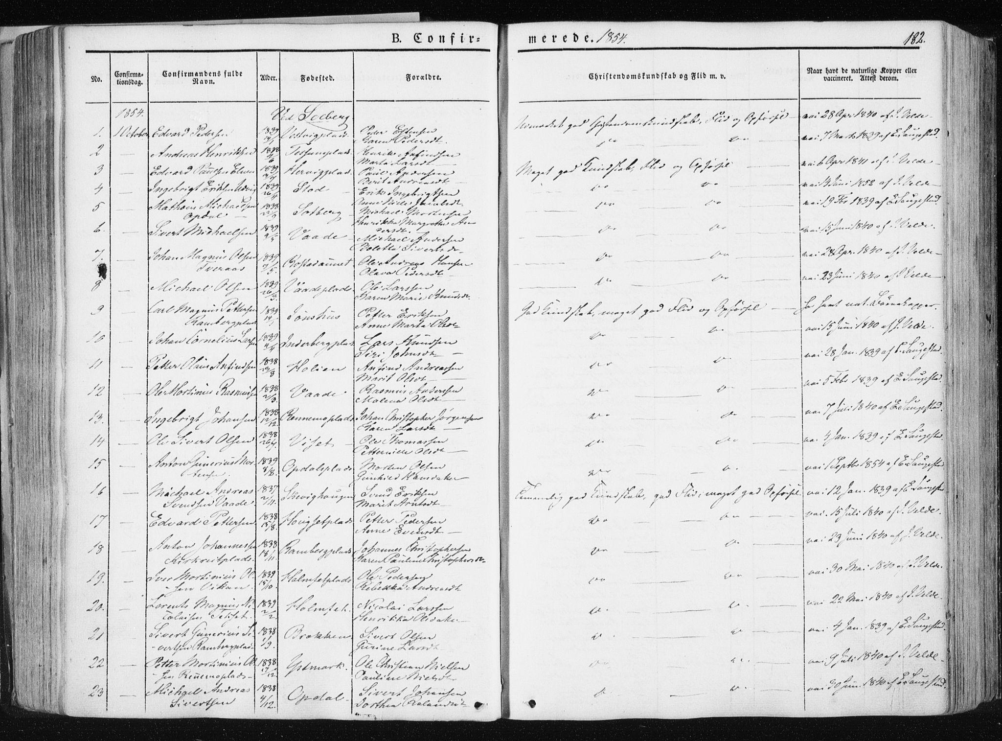 SAT, Ministerialprotokoller, klokkerbøker og fødselsregistre - Nord-Trøndelag, 741/L0393: Ministerialbok nr. 741A07, 1849-1863, s. 182