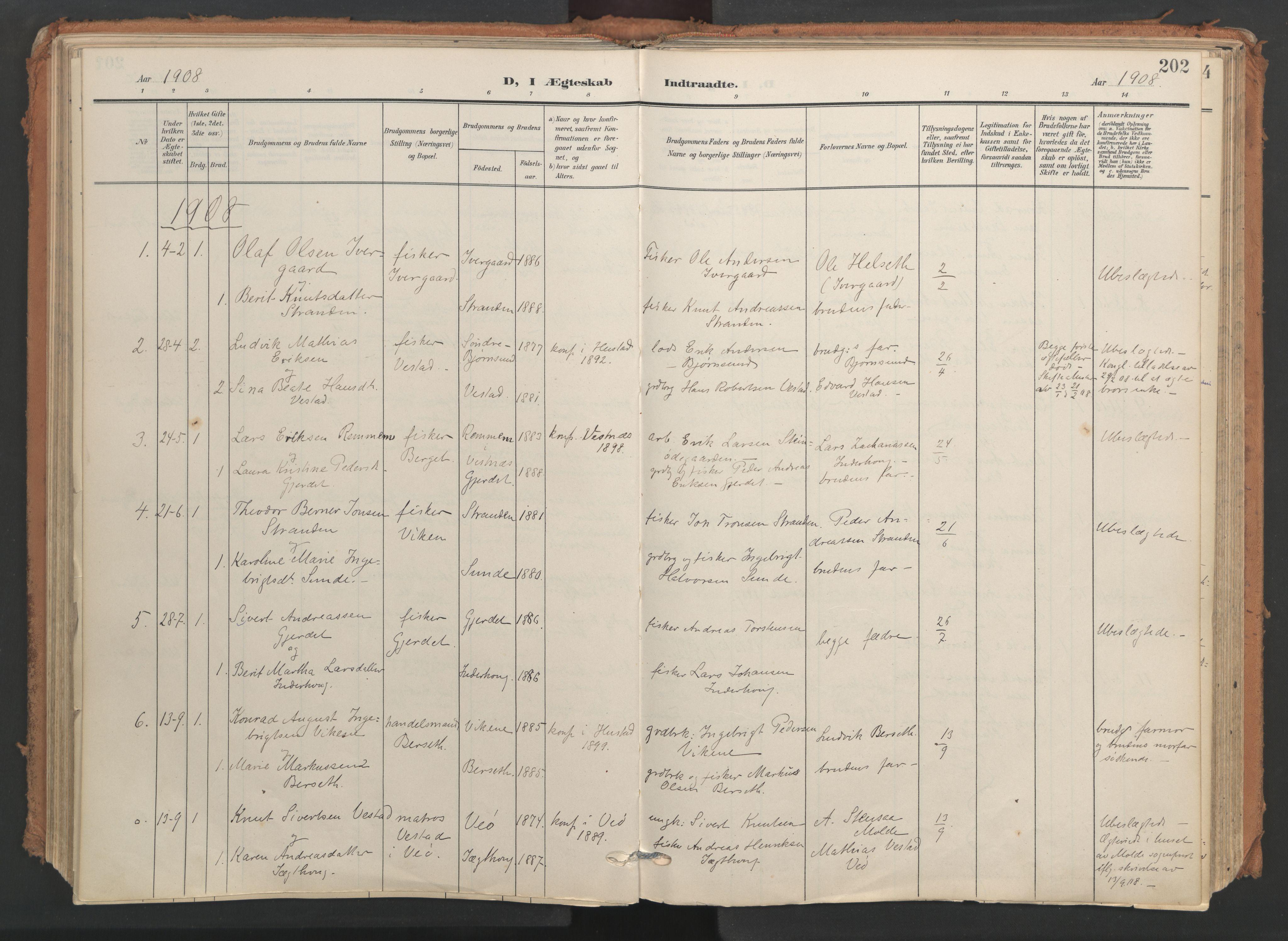 SAT, Ministerialprotokoller, klokkerbøker og fødselsregistre - Møre og Romsdal, 566/L0771: Ministerialbok nr. 566A10, 1904-1929, s. 202