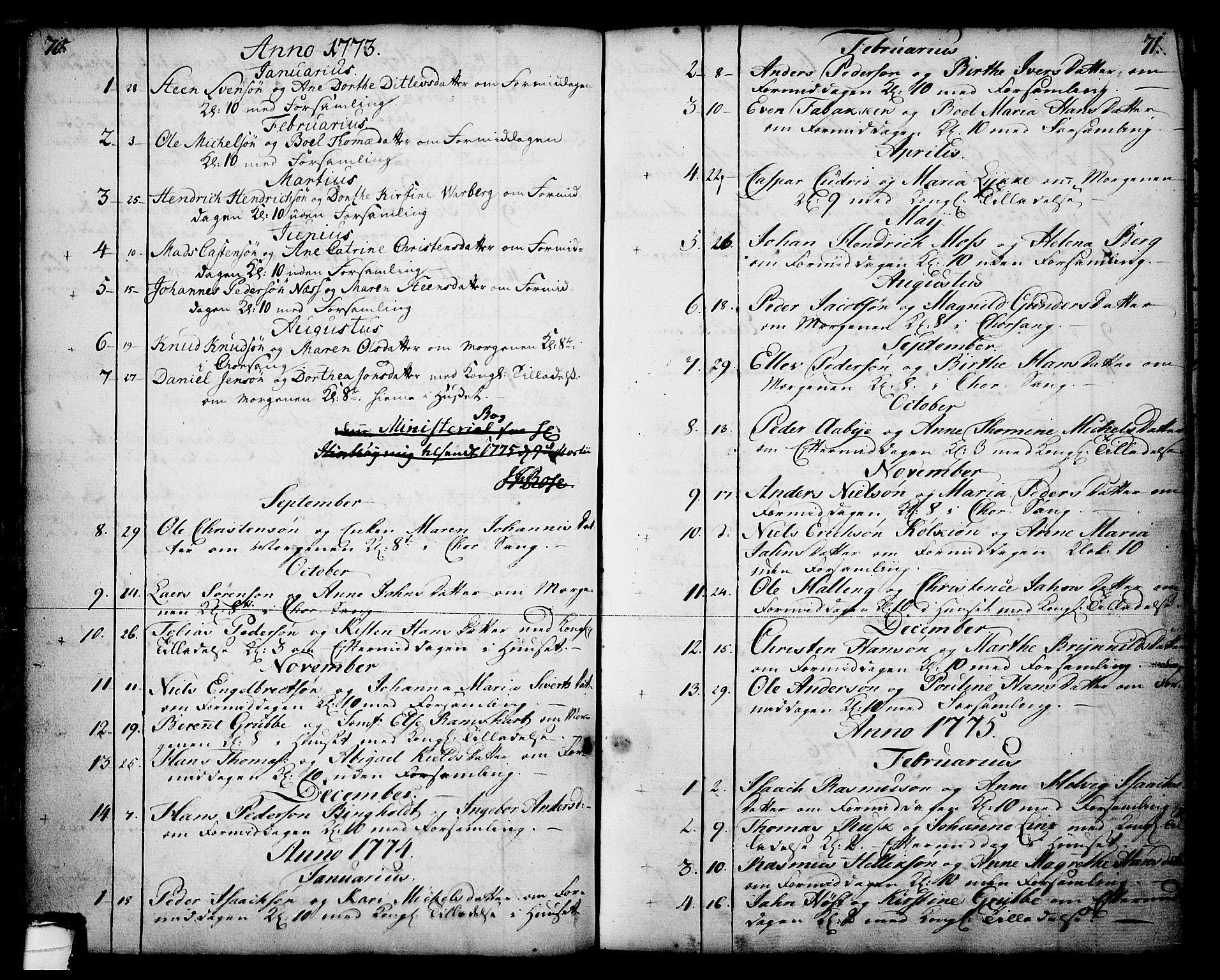 SAKO, Skien kirkebøker, F/Fa/L0003: Ministerialbok nr. 3, 1755-1791, s. 70-71