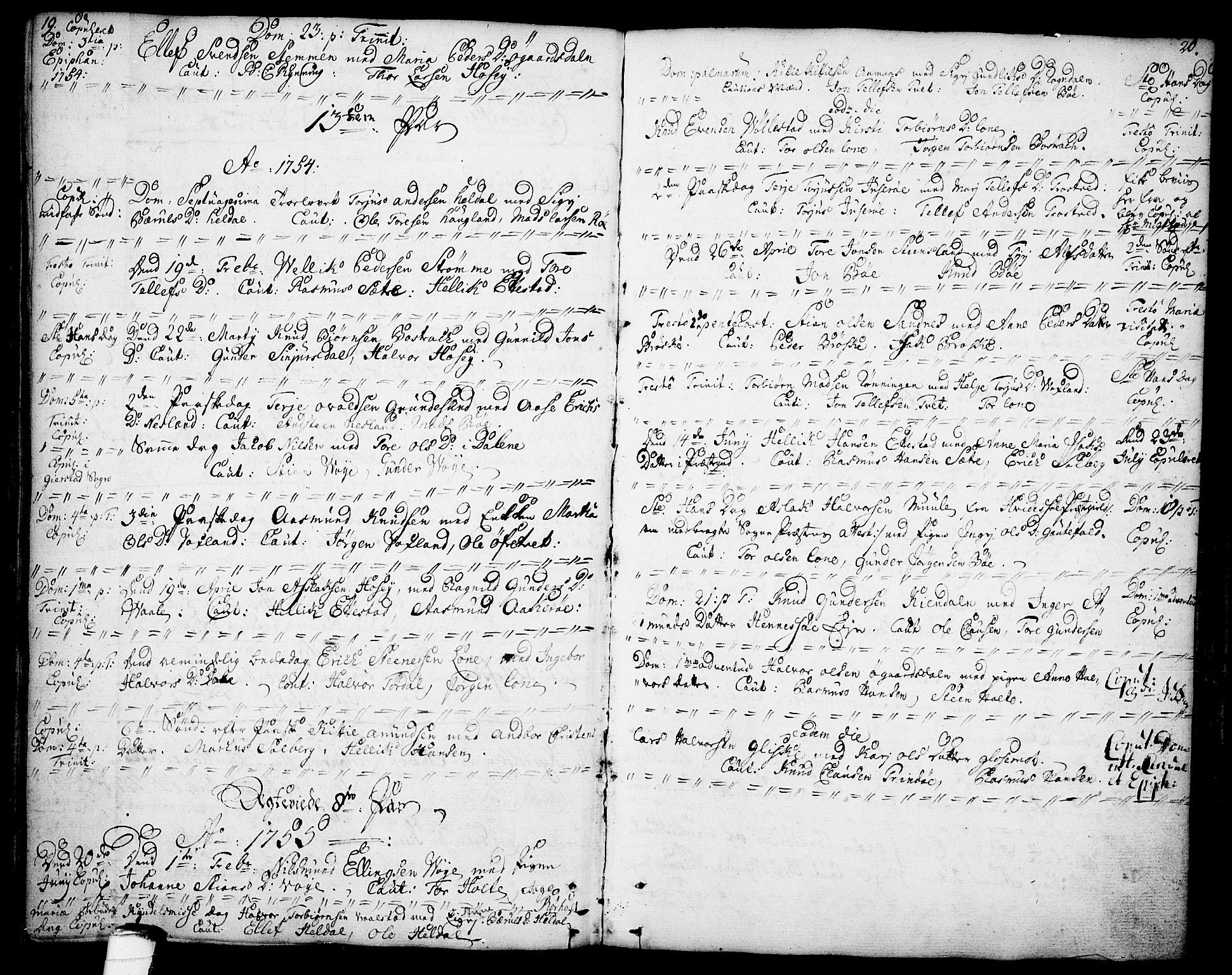 SAKO, Drangedal kirkebøker, F/Fa/L0001: Ministerialbok nr. 1, 1697-1767, s. 19-20