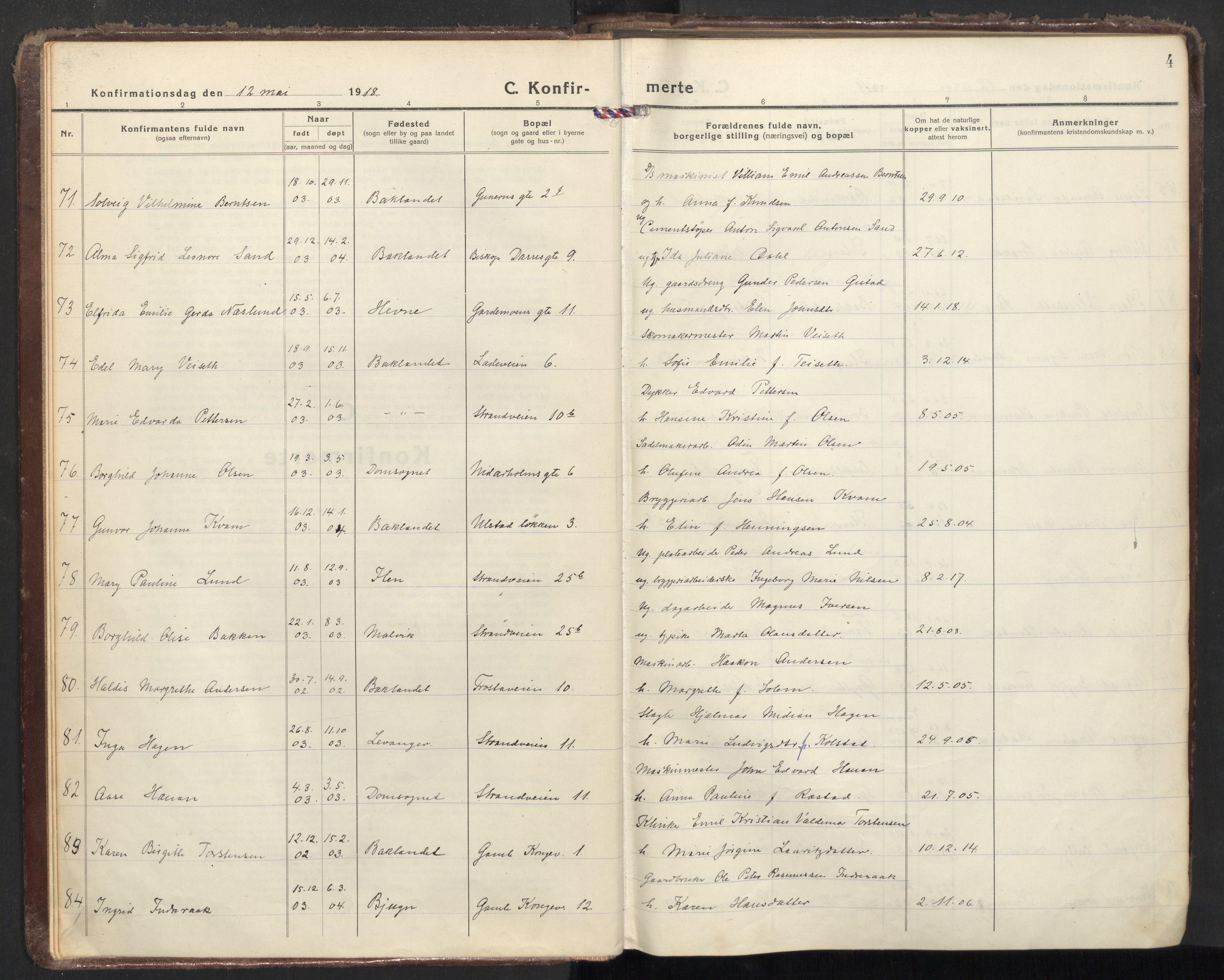 SAT, Ministerialprotokoller, klokkerbøker og fødselsregistre - Sør-Trøndelag, 605/L0247: Ministerialbok nr. 605A09, 1918-1930, s. 4