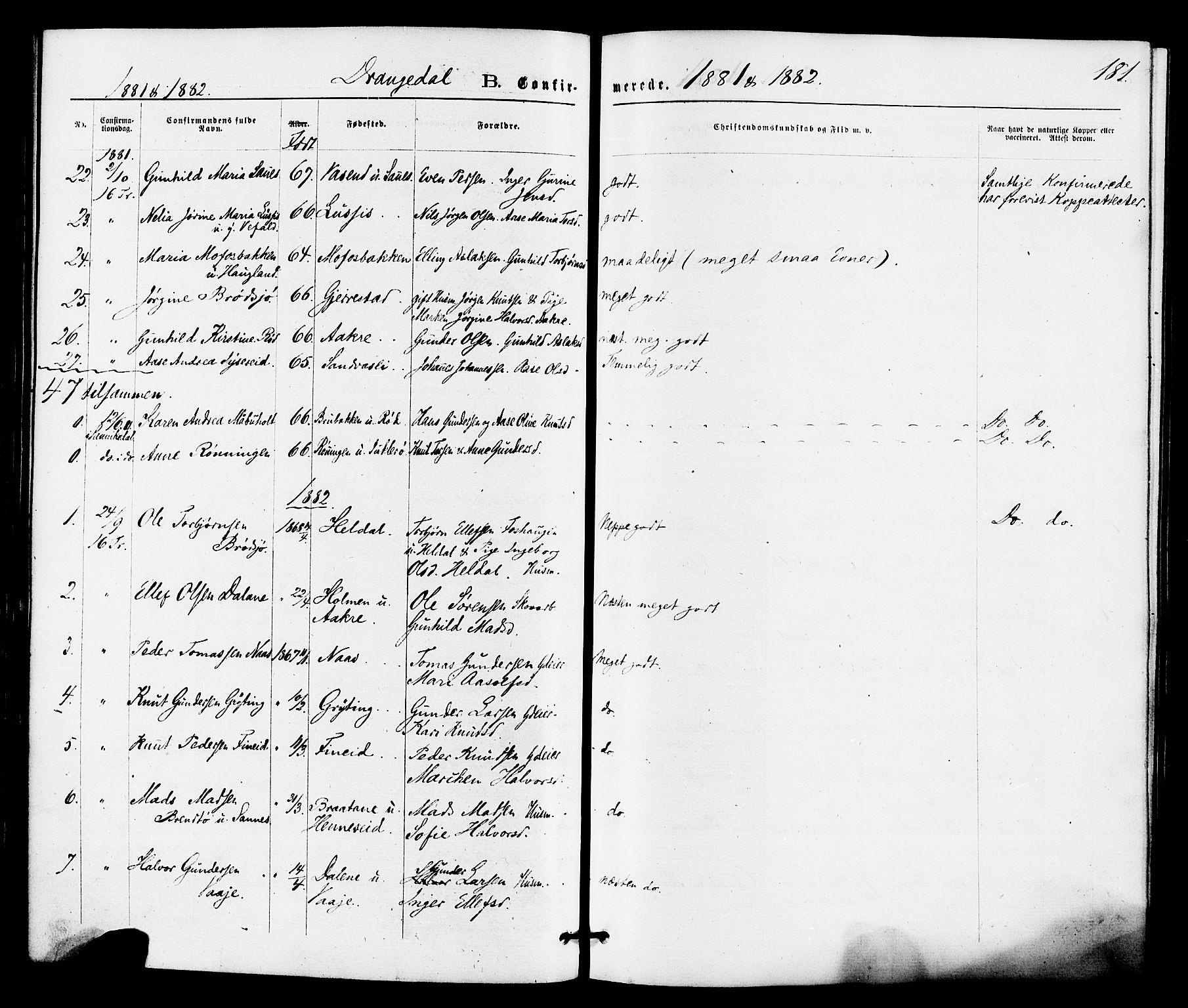 SAKO, Drangedal kirkebøker, F/Fa/L0009: Ministerialbok nr. 9 /1, 1872-1884, s. 181