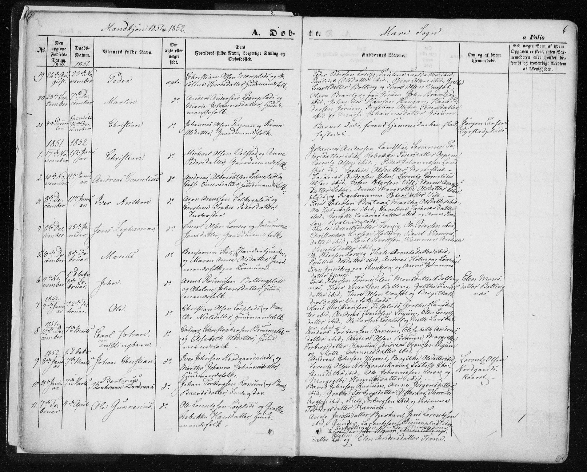 SAT, Ministerialprotokoller, klokkerbøker og fødselsregistre - Nord-Trøndelag, 735/L0342: Ministerialbok nr. 735A07 /1, 1849-1862, s. 6