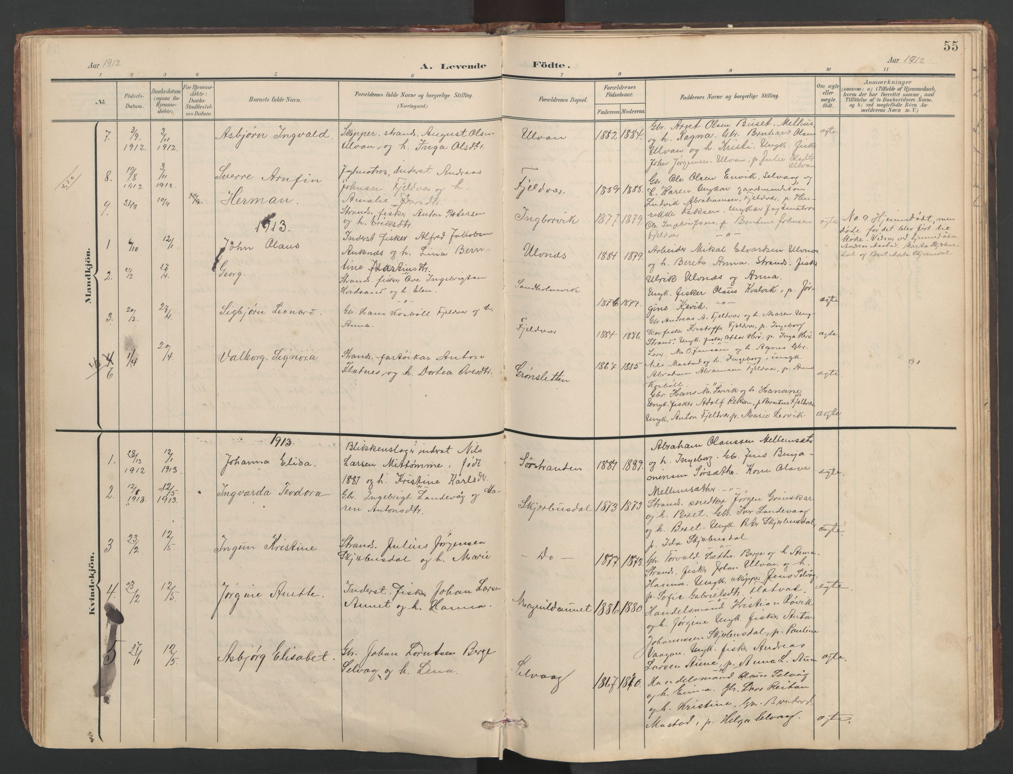 SAT, Ministerialprotokoller, klokkerbøker og fødselsregistre - Sør-Trøndelag, 638/L0571: Klokkerbok nr. 638C03, 1901-1930, s. 55