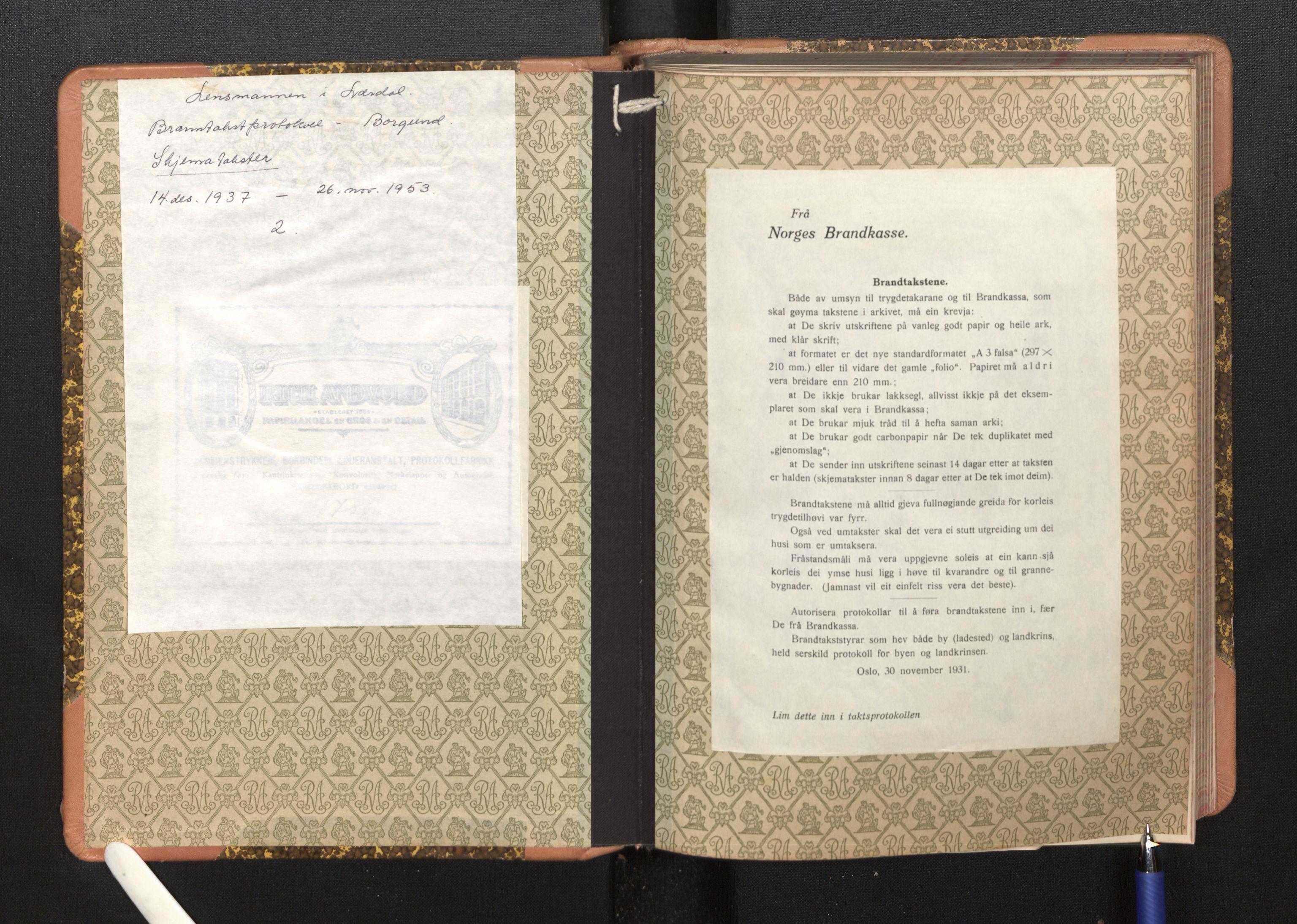 SAB, Lensmannen i Borgund, 0012/L0004: Branntakstprotokoll, skjematakst, 1937-1953