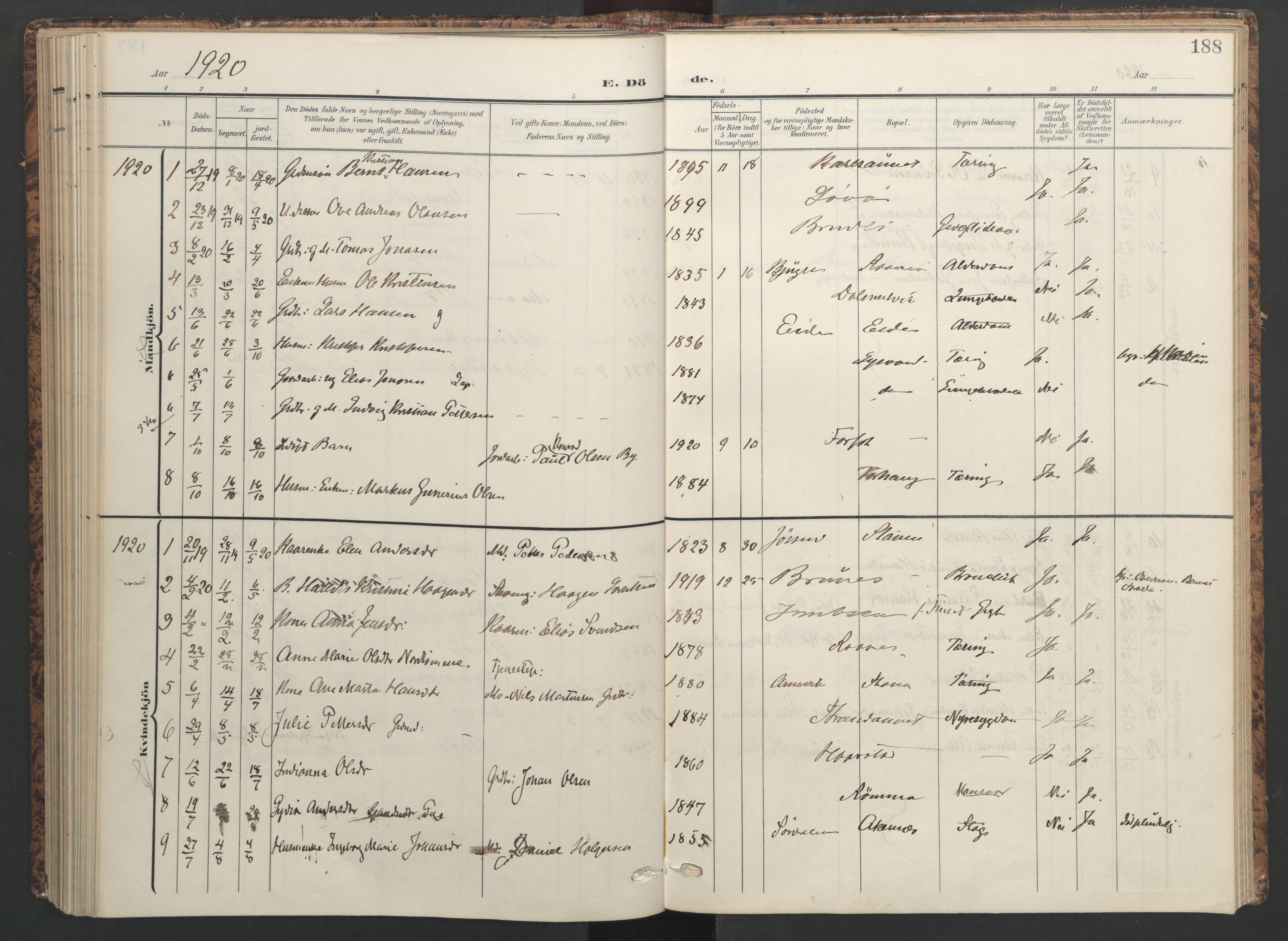 SAT, Ministerialprotokoller, klokkerbøker og fødselsregistre - Sør-Trøndelag, 655/L0682: Ministerialbok nr. 655A11, 1908-1922, s. 188