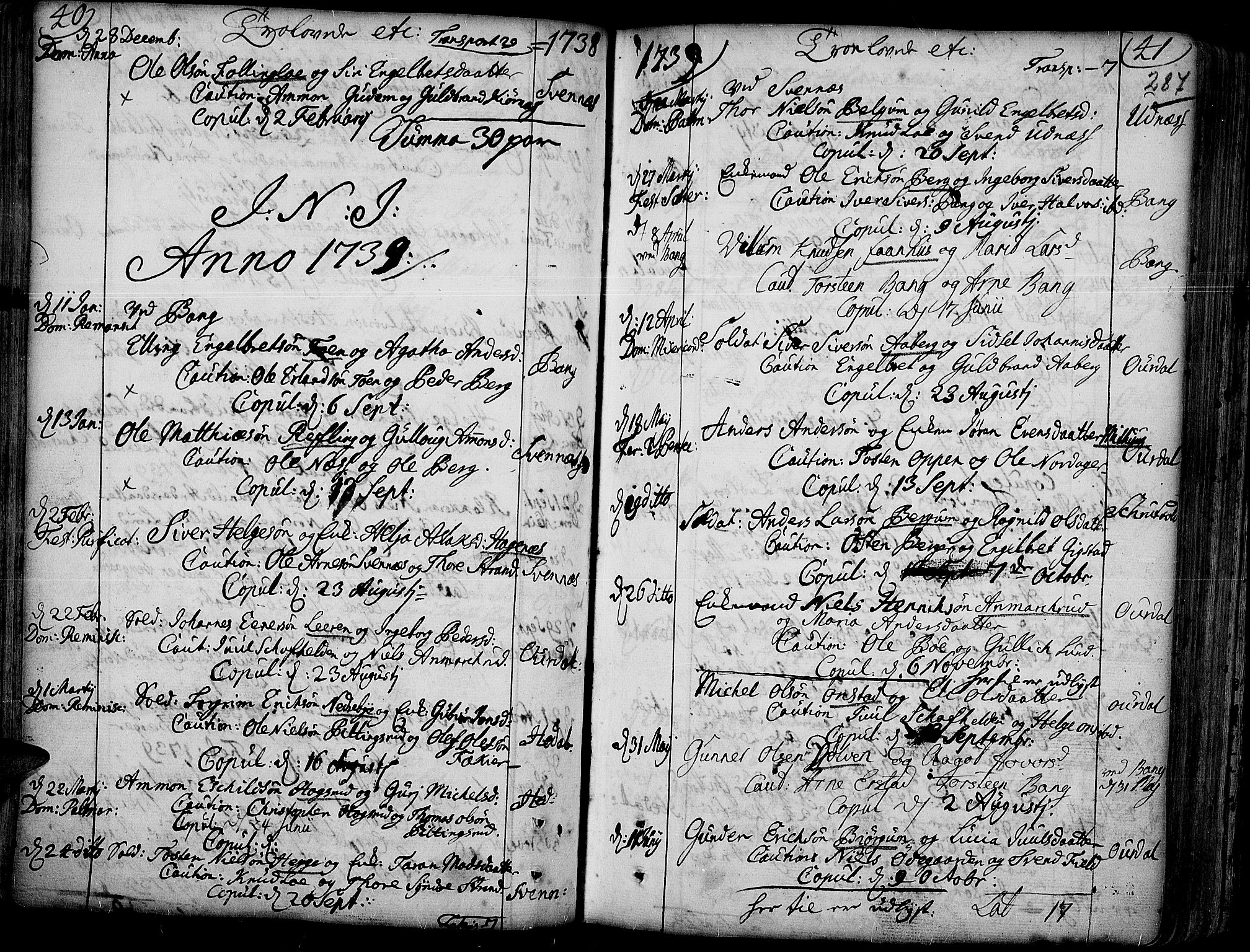 SAH, Aurdal prestekontor, Ministerialbok nr. 4, 1730-1762, s. 40-41