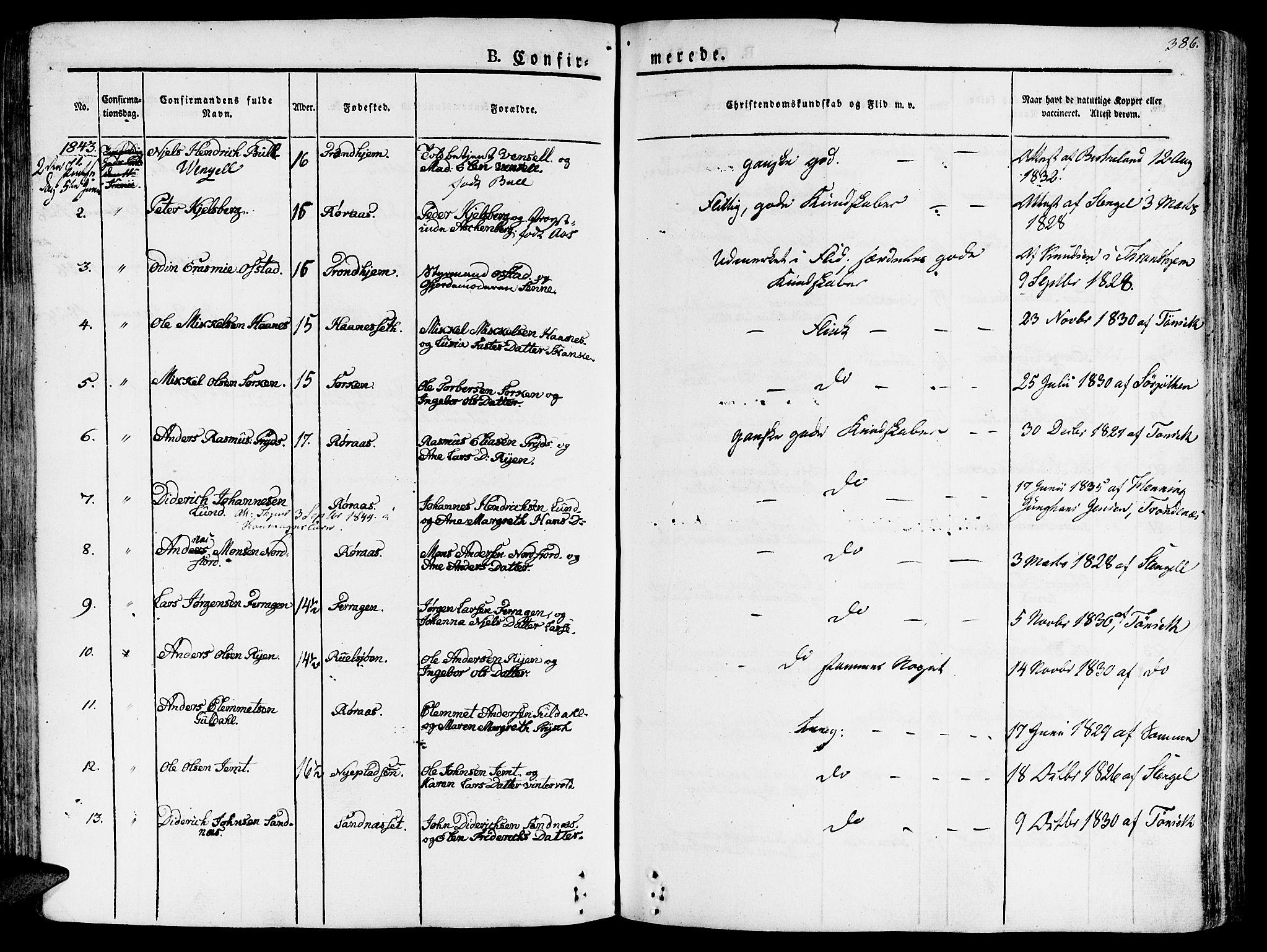 SAT, Ministerialprotokoller, klokkerbøker og fødselsregistre - Sør-Trøndelag, 681/L0930: Ministerialbok nr. 681A08, 1829-1844, s. 386