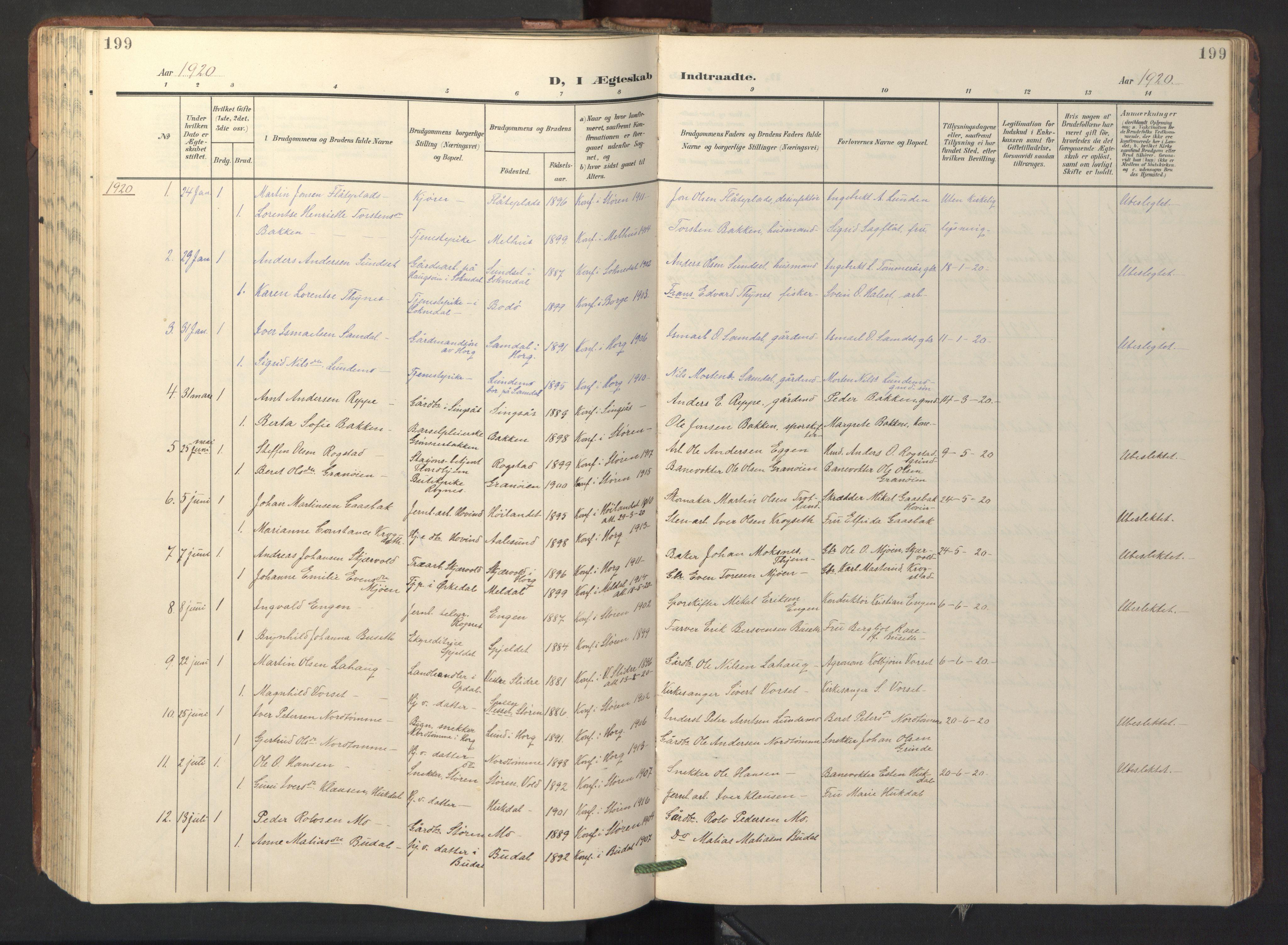 SAT, Ministerialprotokoller, klokkerbøker og fødselsregistre - Sør-Trøndelag, 687/L1019: Klokkerbok nr. 687C03, 1904-1931, s. 199