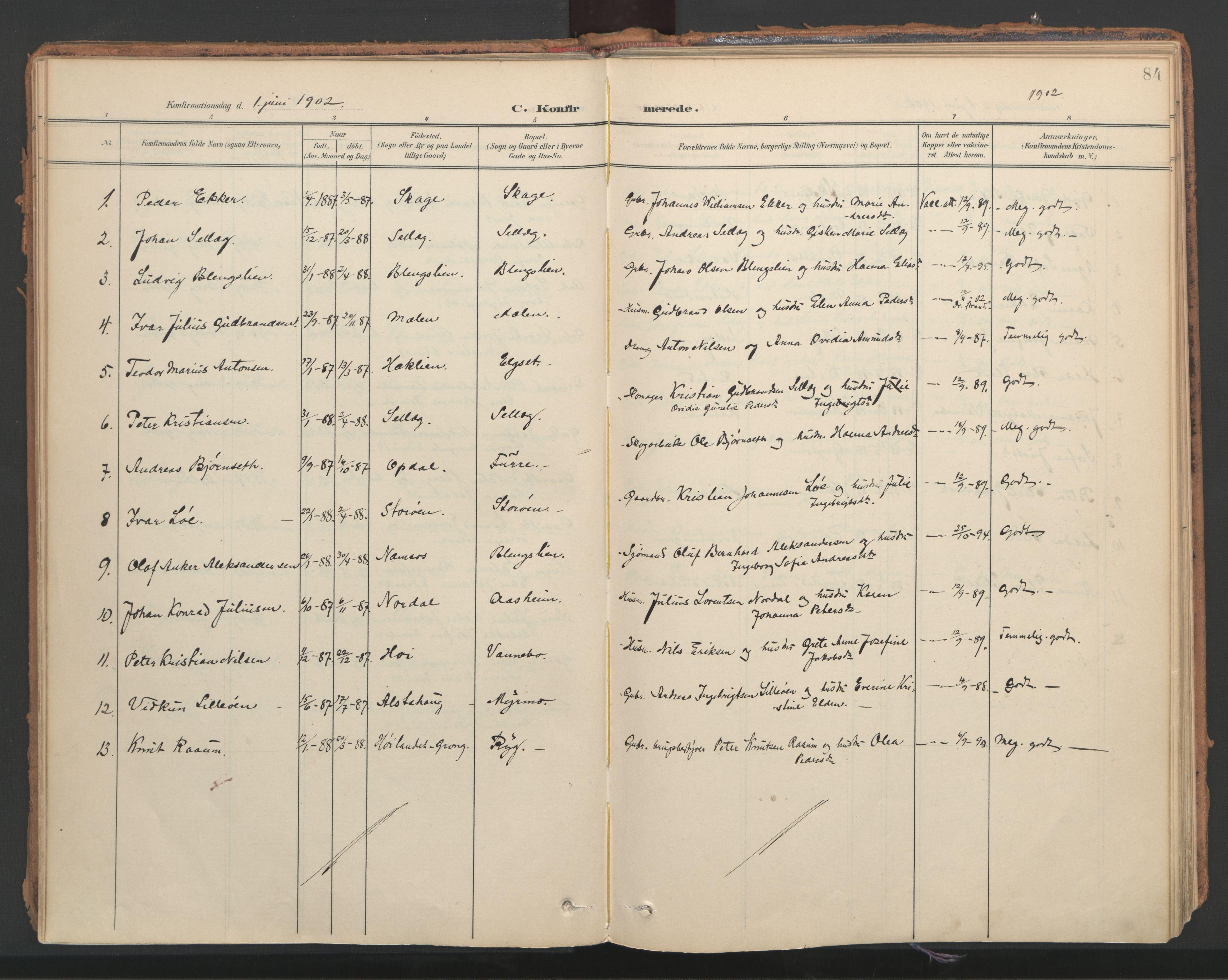 SAT, Ministerialprotokoller, klokkerbøker og fødselsregistre - Nord-Trøndelag, 766/L0564: Ministerialbok nr. 767A02, 1900-1932, s. 84