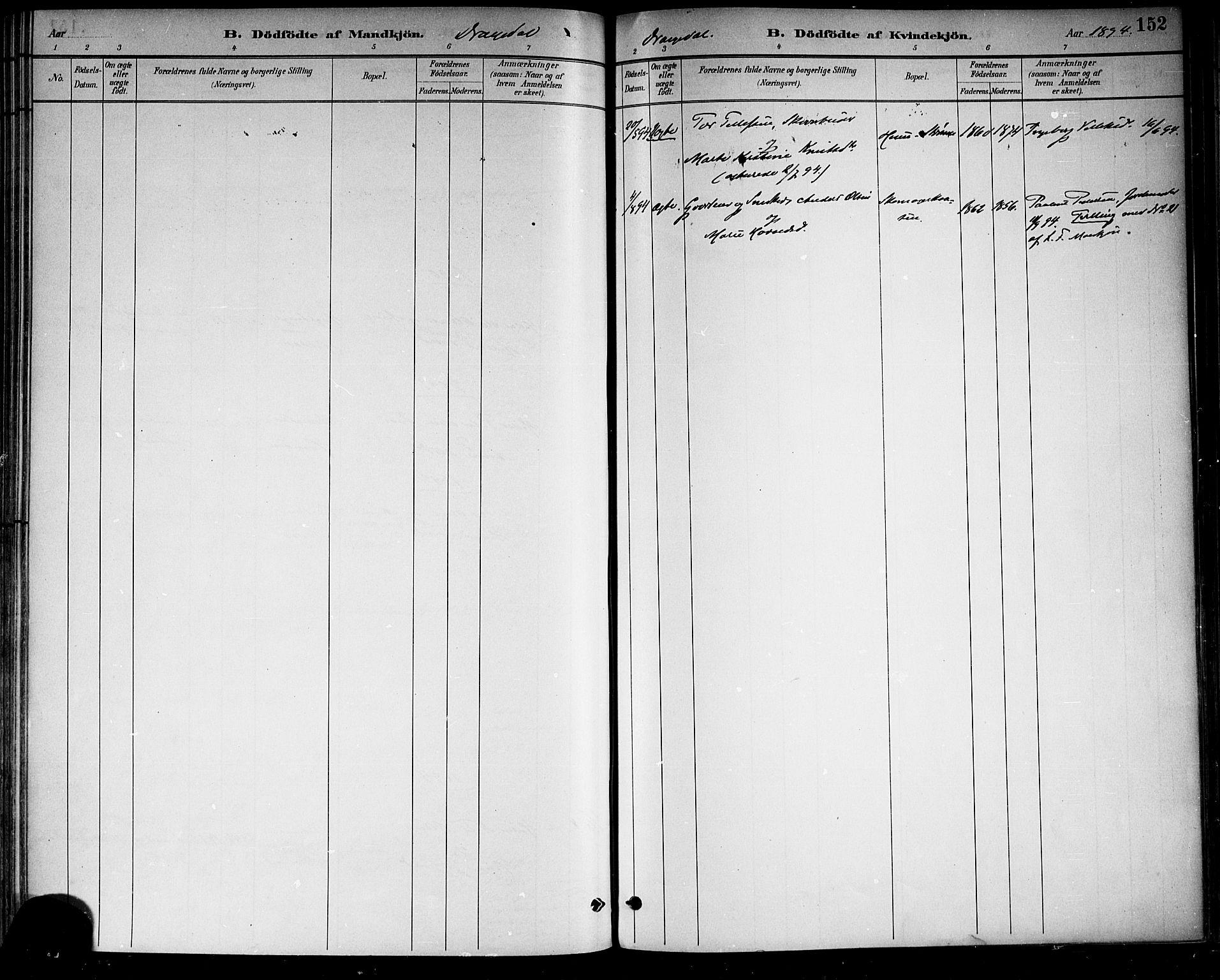 SAKO, Drangedal kirkebøker, F/Fa/L0010: Ministerialbok nr. 10 /1, 1885-1894, s. 152