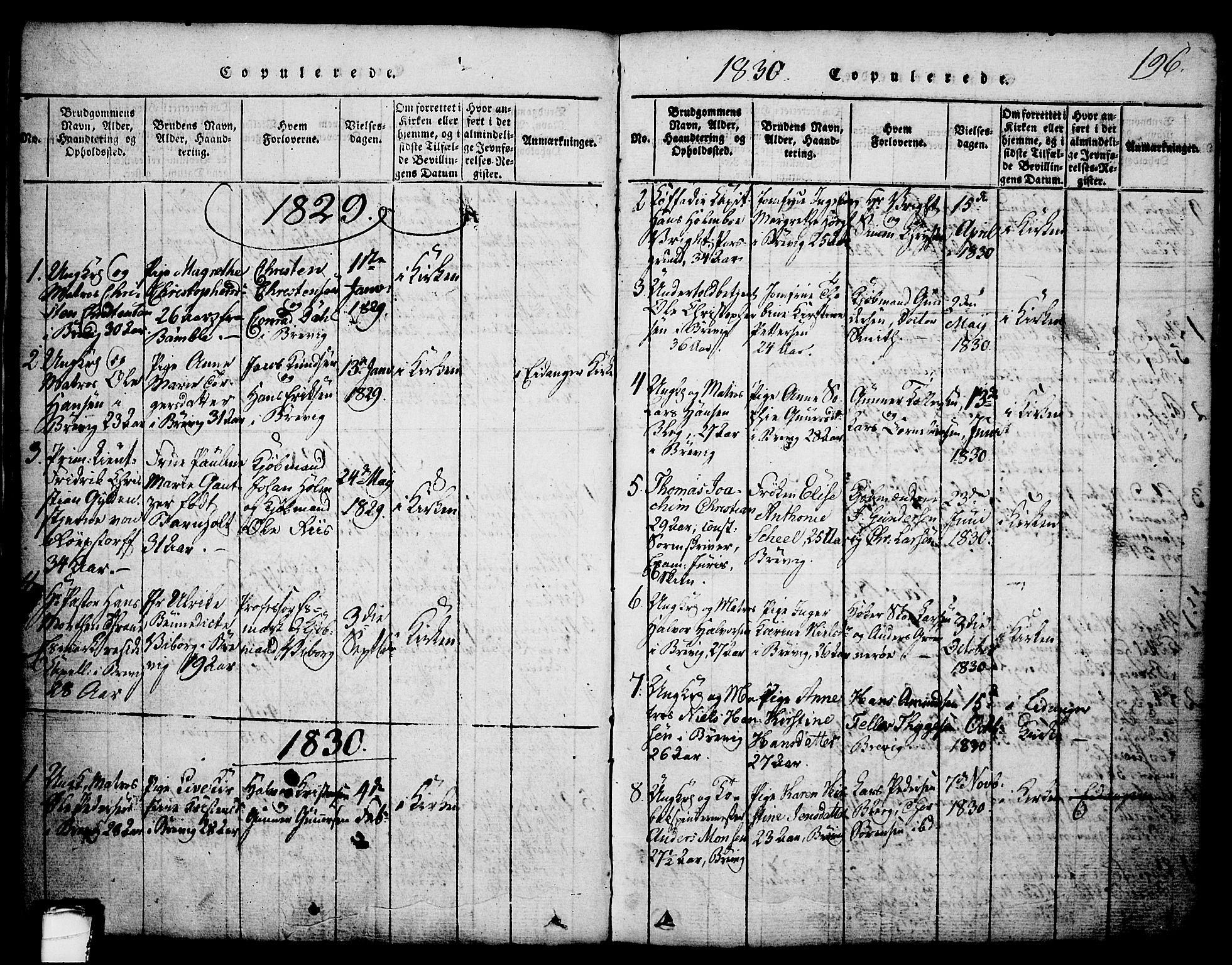 SAKO, Brevik kirkebøker, G/Ga/L0001: Klokkerbok nr. 1, 1814-1845, s. 196