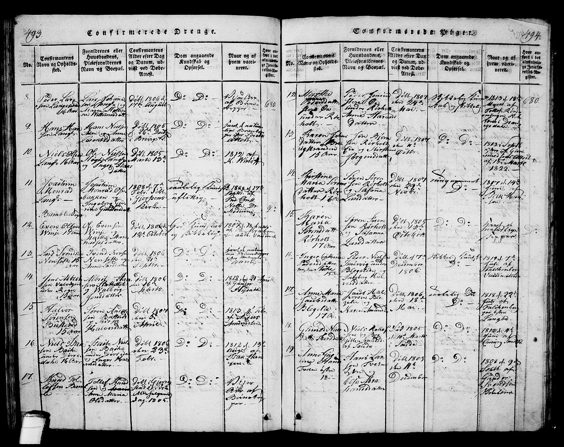 SAKO, Langesund kirkebøker, G/Ga/L0003: Klokkerbok nr. 3, 1815-1858, s. 493-494