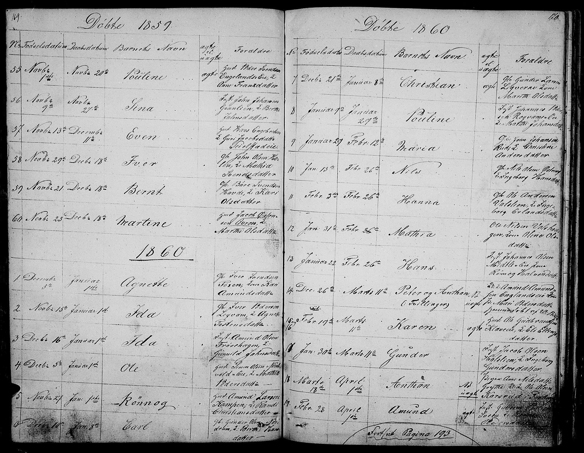 SAH, Gausdal prestekontor, Klokkerbok nr. 3, 1829-1864, s. 169-170