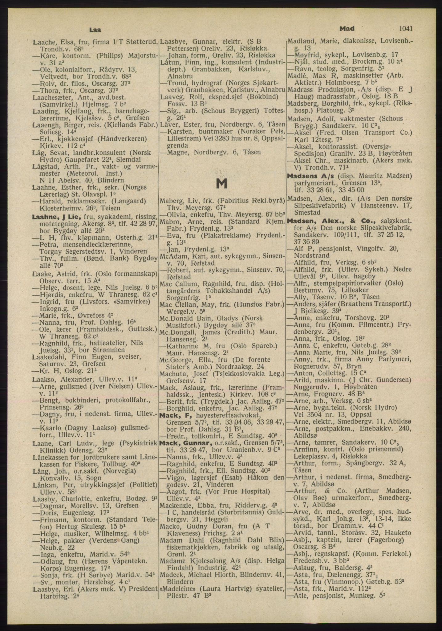 RA, Oslo adressebok (publikasjon)*, 1955, s. 1041