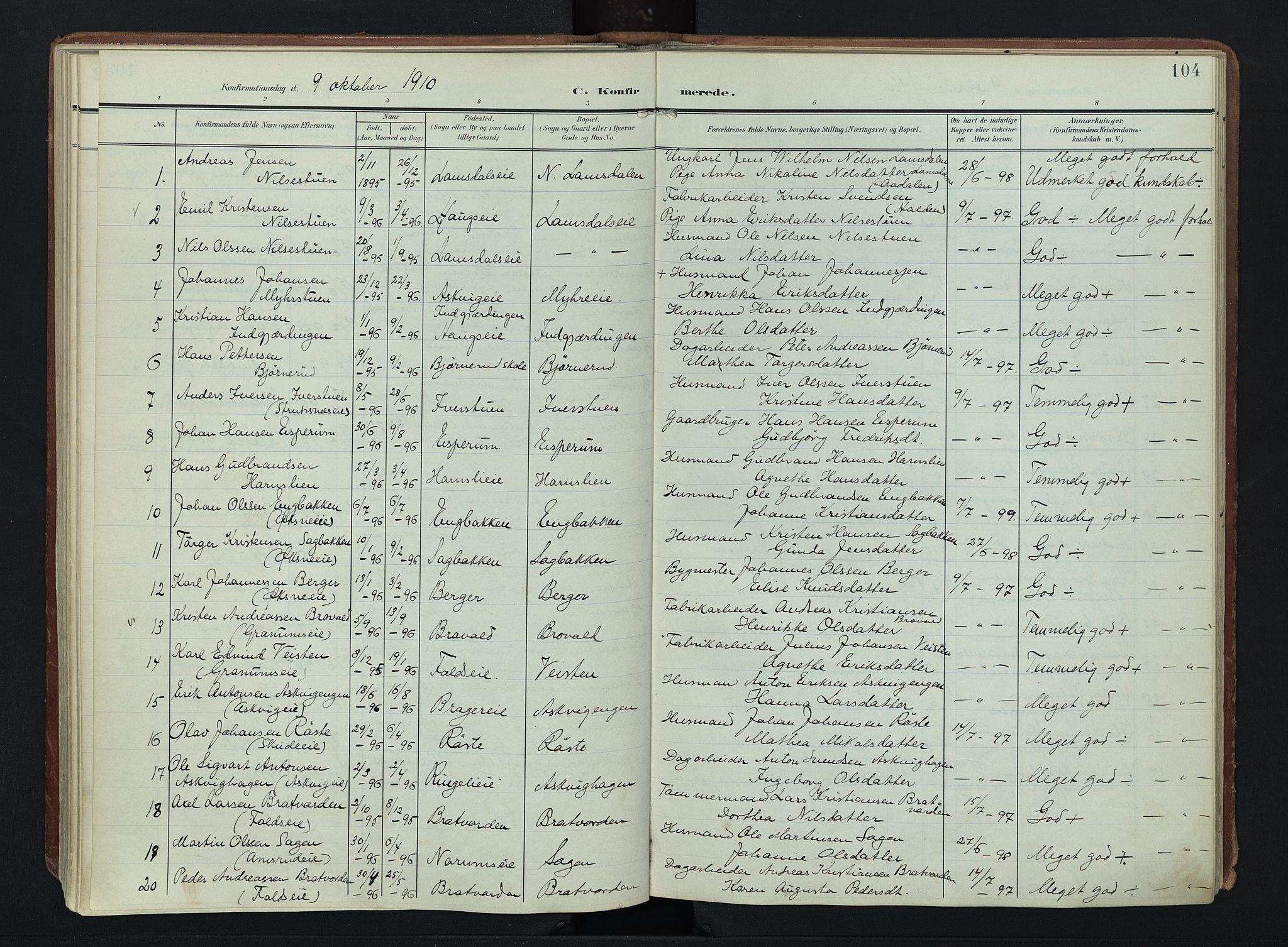 SAH, Søndre Land prestekontor, K/L0007: Ministerialbok nr. 7, 1905-1914, s. 104