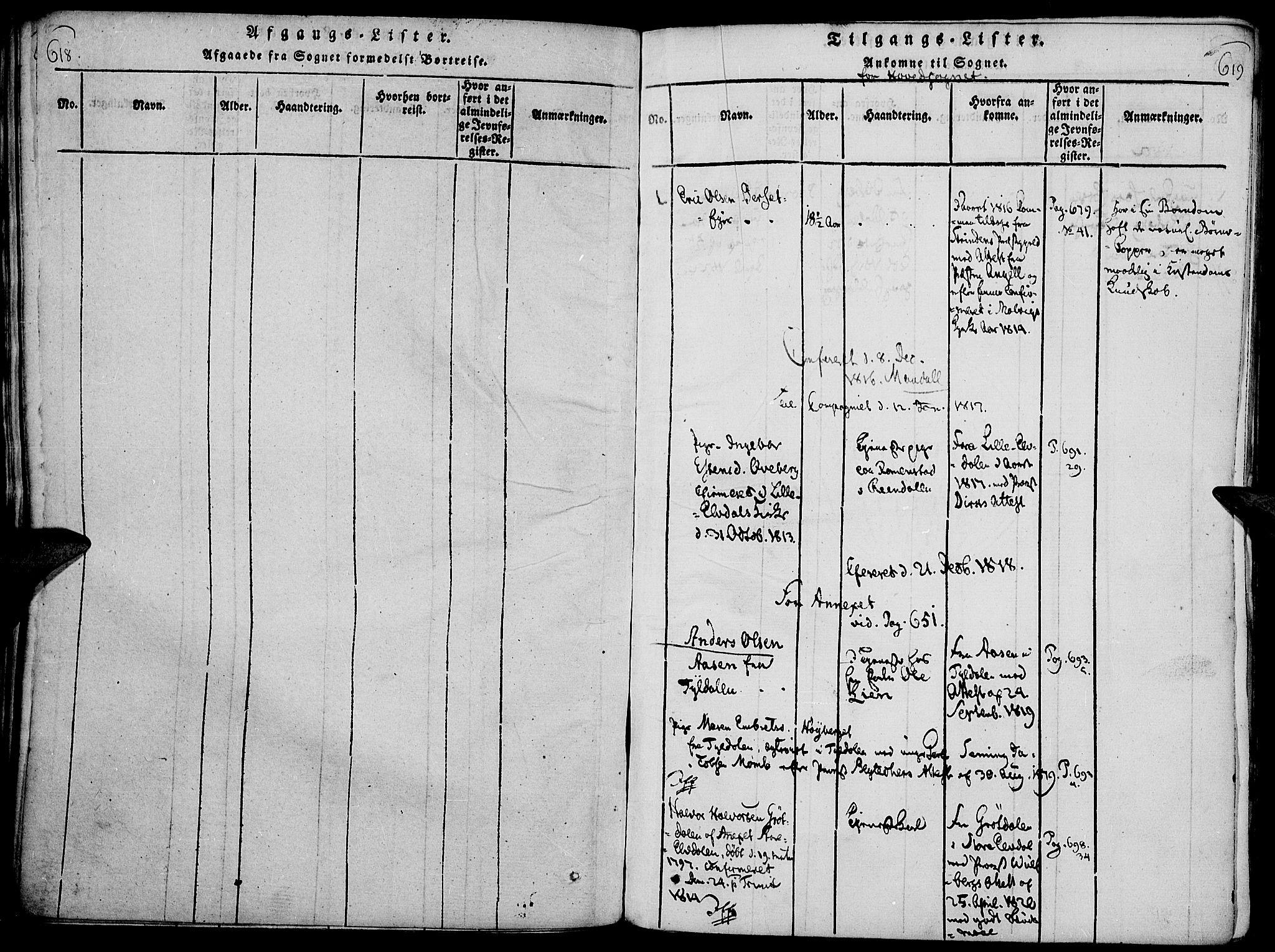 SAH, Rendalen prestekontor, H/Ha/Haa/L0003: Ministerialbok nr. 3, 1815-1829, s. 618-619