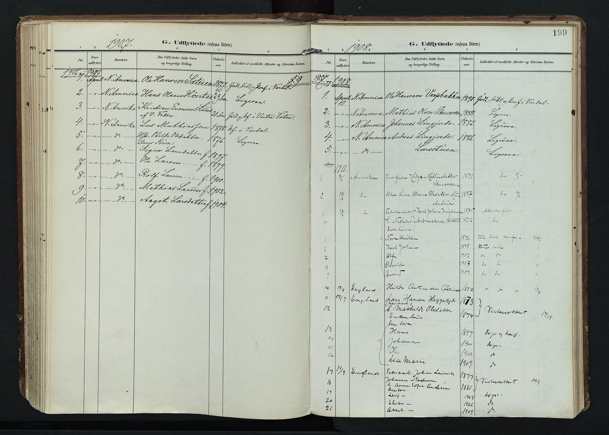 SAH, Vardal prestekontor, H/Ha/Haa/L0020: Ministerialbok nr. 20, 1907-1921, s. 199