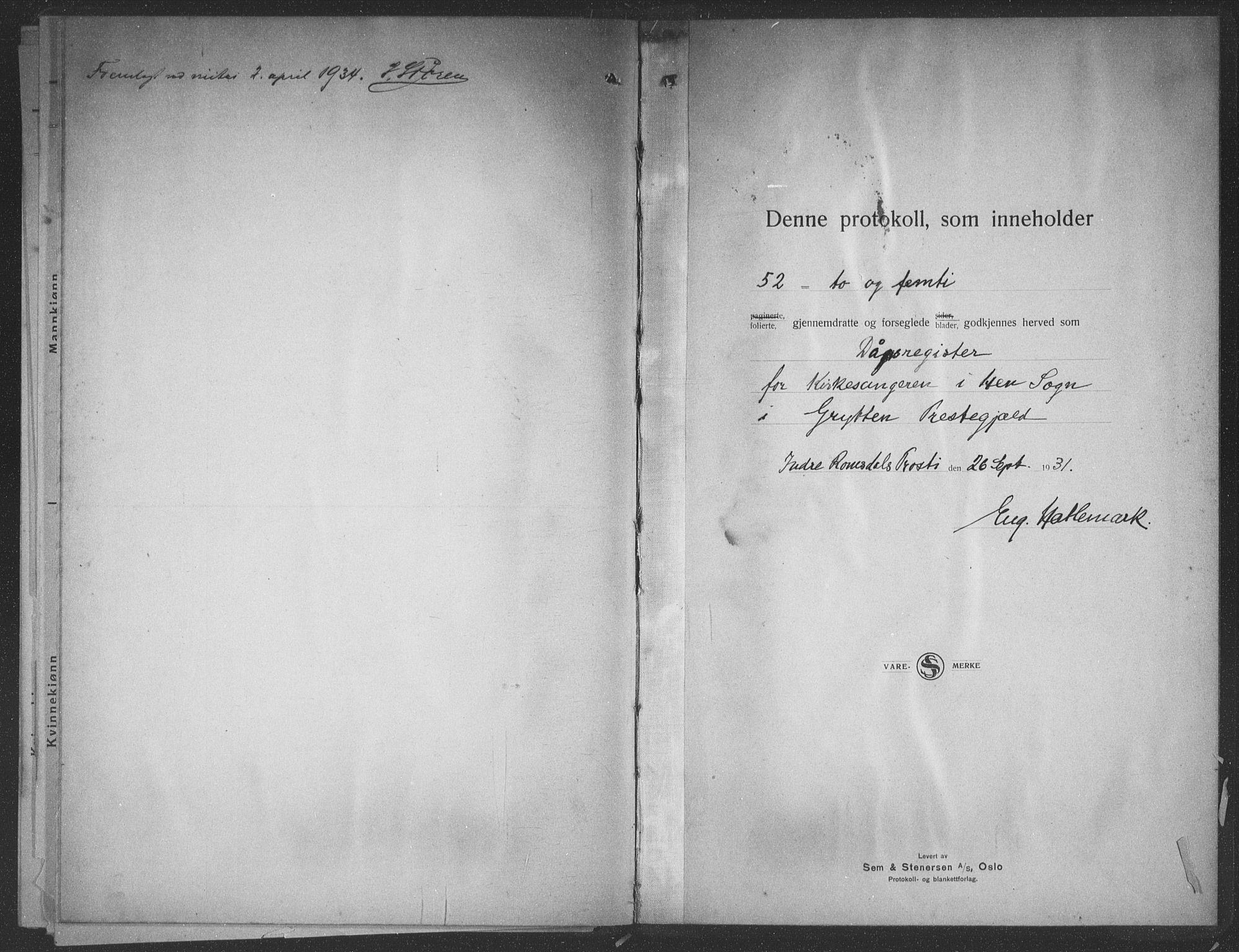 SAT, Ministerialprotokoller, klokkerbøker og fødselsregistre - Møre og Romsdal, 545/L0590: Klokkerbok nr. 545C04, 1931-1937