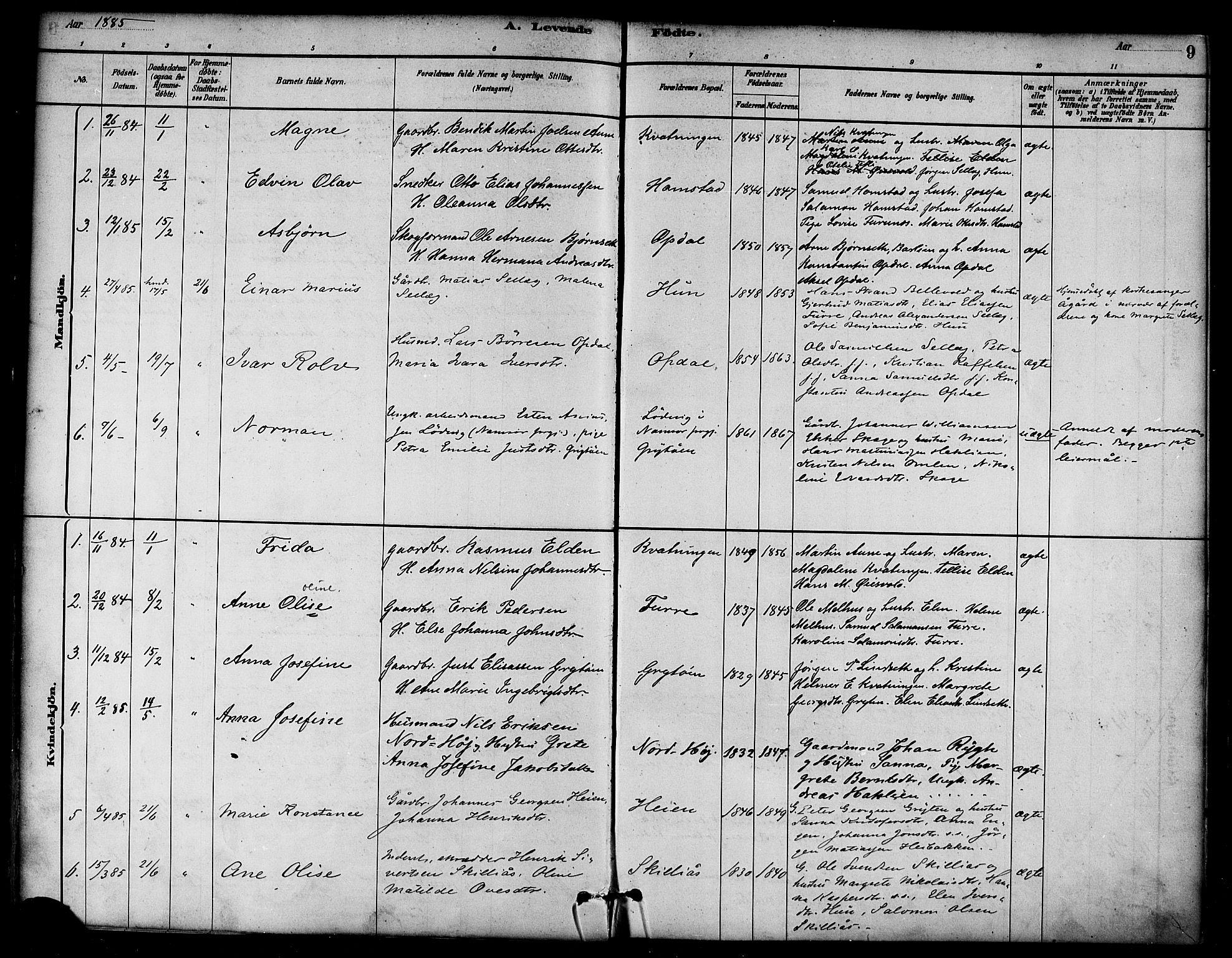SAT, Ministerialprotokoller, klokkerbøker og fødselsregistre - Nord-Trøndelag, 766/L0563: Ministerialbok nr. 767A01, 1881-1899, s. 9