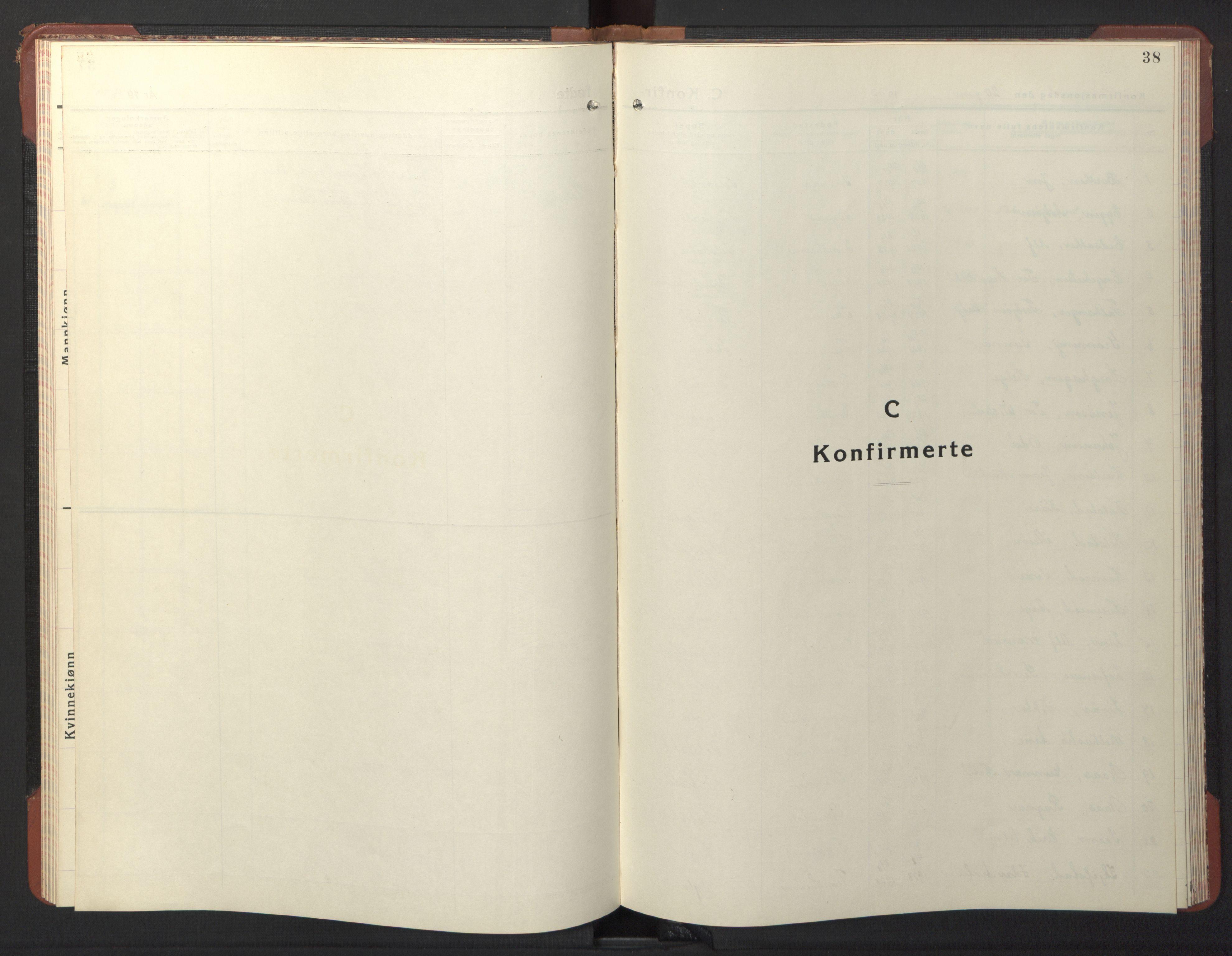 SAT, Ministerialprotokoller, klokkerbøker og fødselsregistre - Sør-Trøndelag, 611/L0358: Klokkerbok nr. 611C06, 1943-1946, s. 38