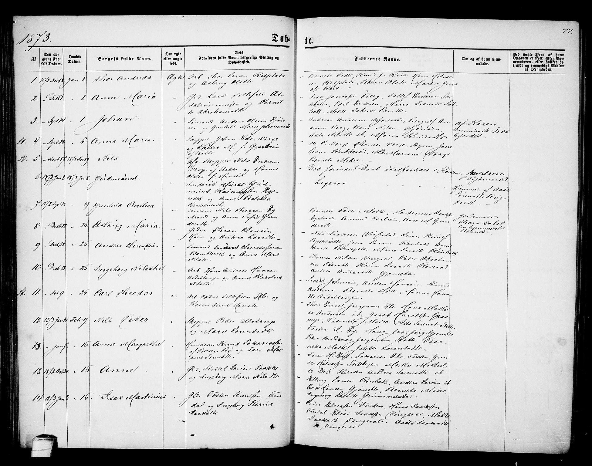 SAKO, Bamble kirkebøker, G/Ga/L0006: Klokkerbok nr. I 6, 1860-1876, s. 77