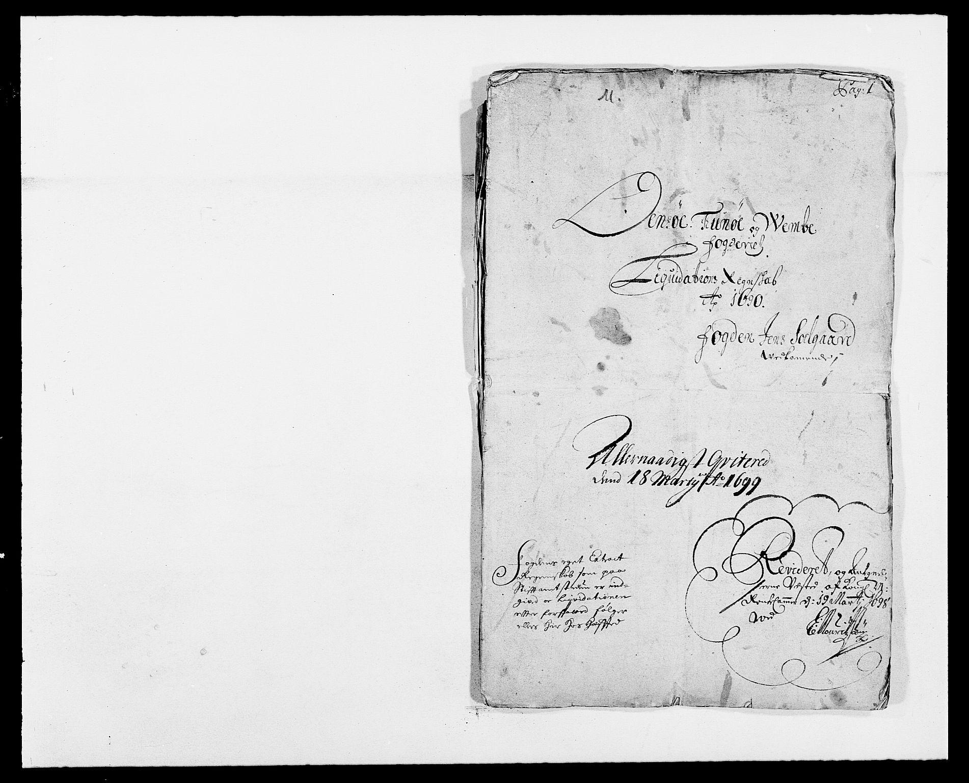 RA, Rentekammeret inntil 1814, Reviderte regnskaper, Fogderegnskap, R03/L0119: Fogderegnskap Onsøy, Tune, Veme og Åbygge fogderi, 1690-1691, s. 2