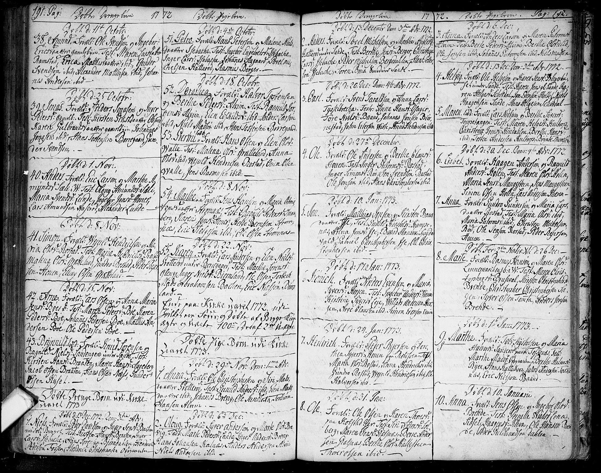 SAO, Tune prestekontor Kirkebøker, F/Fa/L0002: Ministerialbok nr. 2, 1758-1781, s. 191-192