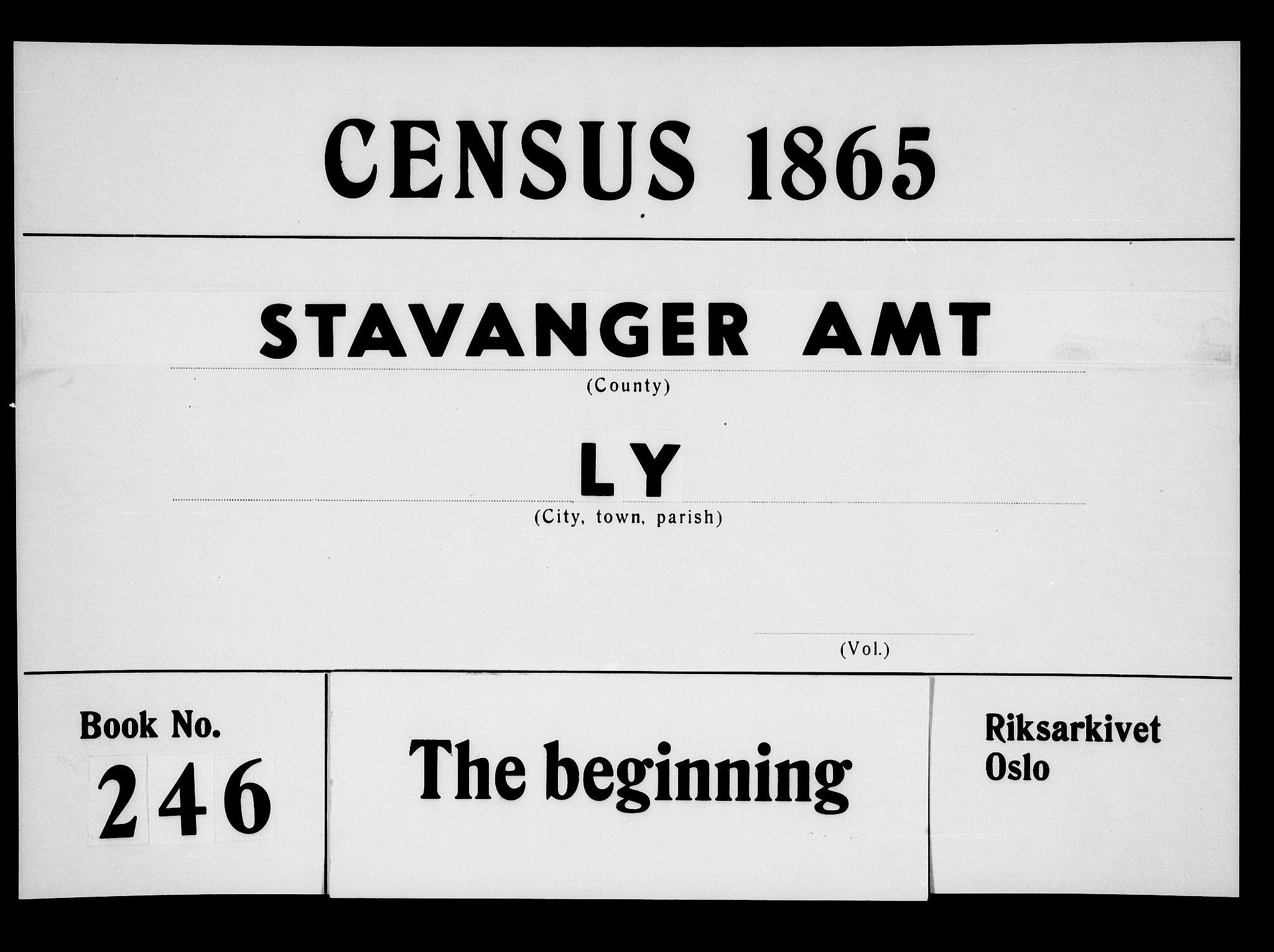 RA, Folketelling 1865 for 1121P Lye prestegjeld, 1865, s. 1