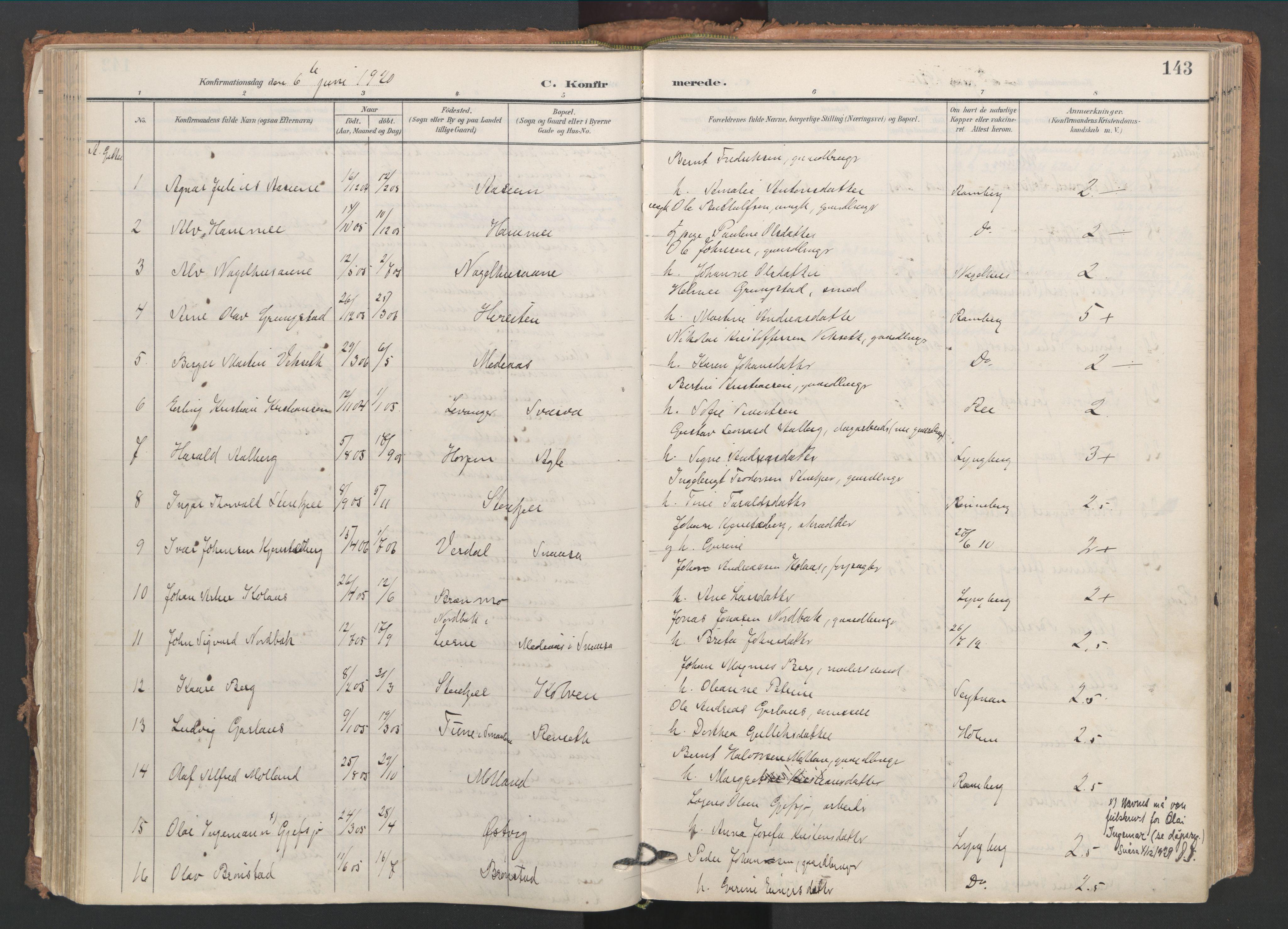 SAT, Ministerialprotokoller, klokkerbøker og fødselsregistre - Nord-Trøndelag, 749/L0477: Ministerialbok nr. 749A11, 1902-1927, s. 143