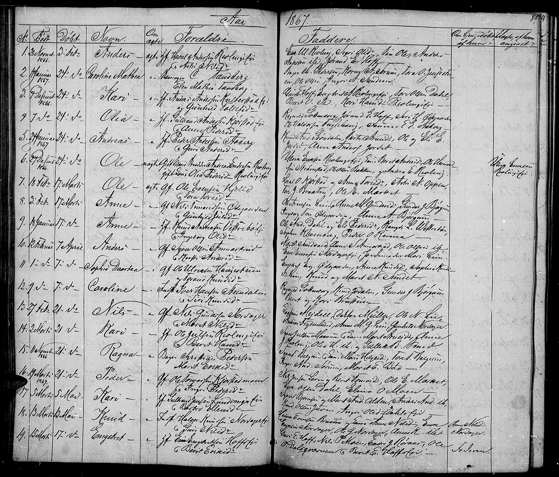 SAH, Nord-Aurdal prestekontor, Klokkerbok nr. 2, 1842-1877, s. 89