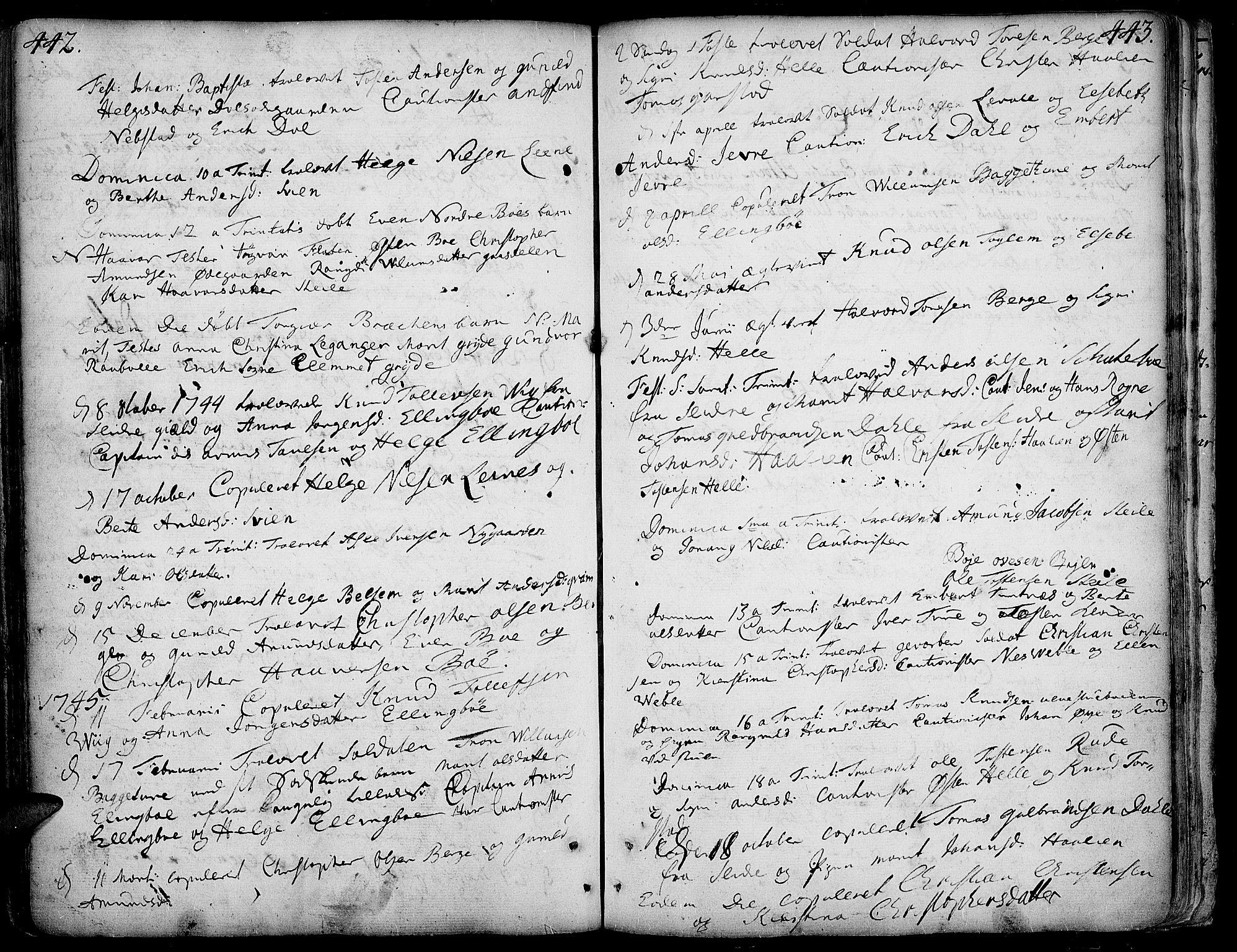 SAH, Vang prestekontor, Valdres, Ministerialbok nr. 1, 1730-1796, s. 442-443