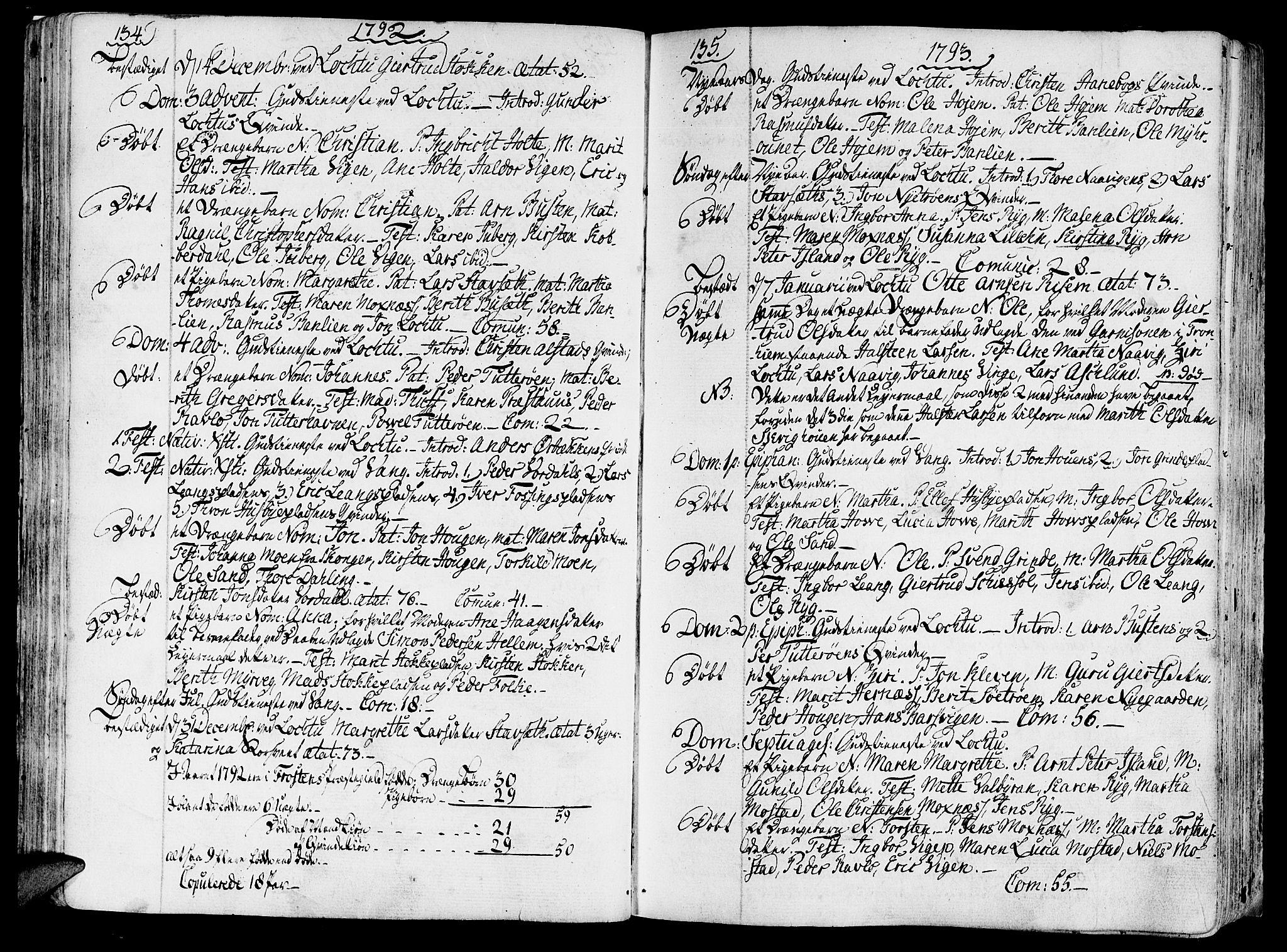 SAT, Ministerialprotokoller, klokkerbøker og fødselsregistre - Nord-Trøndelag, 713/L0110: Ministerialbok nr. 713A02, 1778-1811, s. 134-135