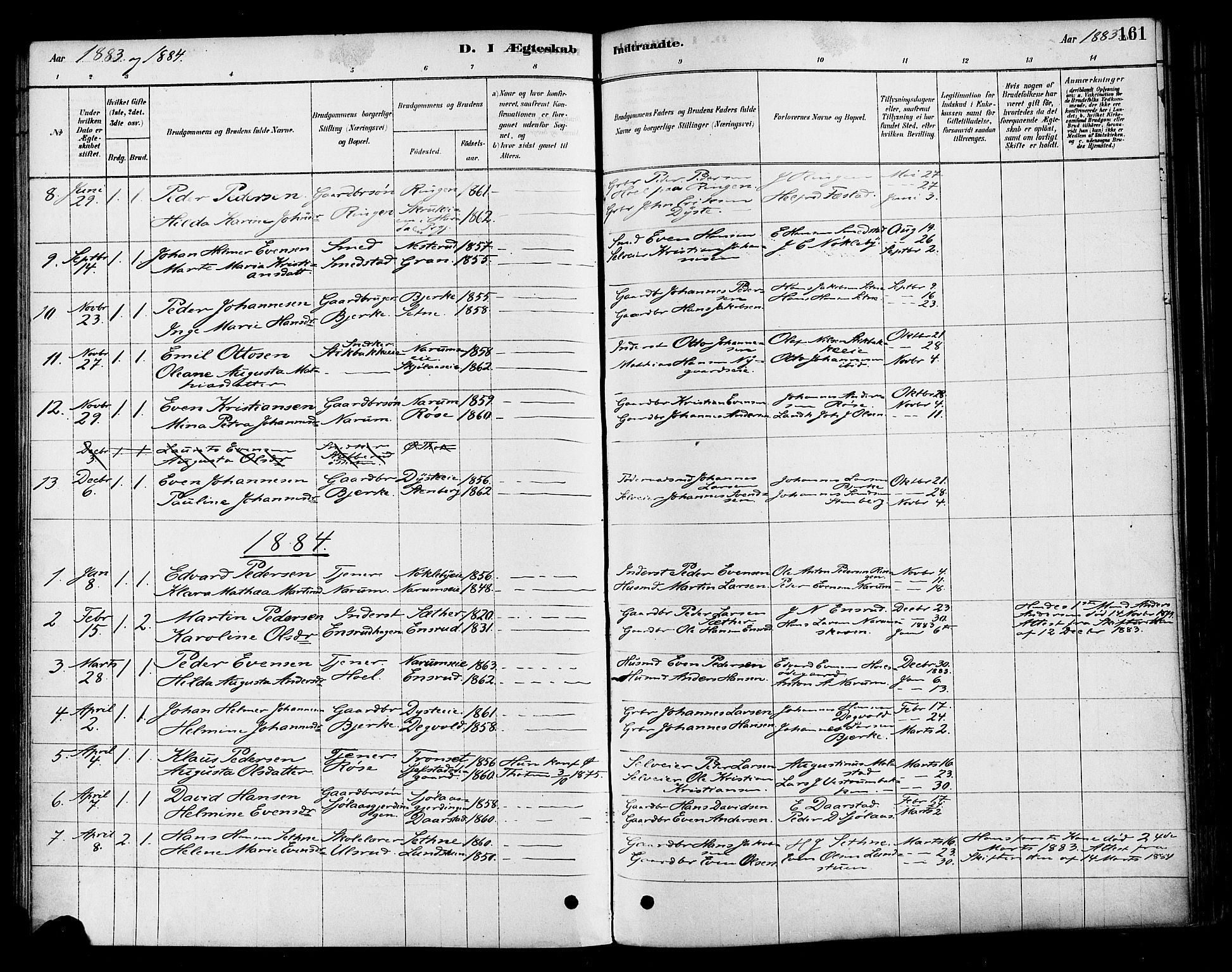 SAH, Vestre Toten prestekontor, Ministerialbok nr. 10, 1878-1894, s. 161