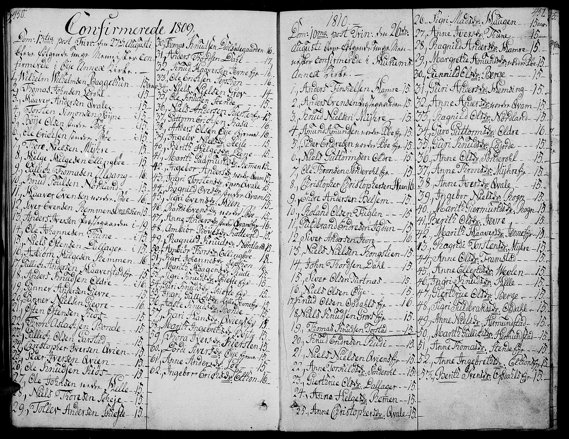 SAH, Vang prestekontor, Valdres, Ministerialbok nr. 3, 1809-1831, s. 450-451