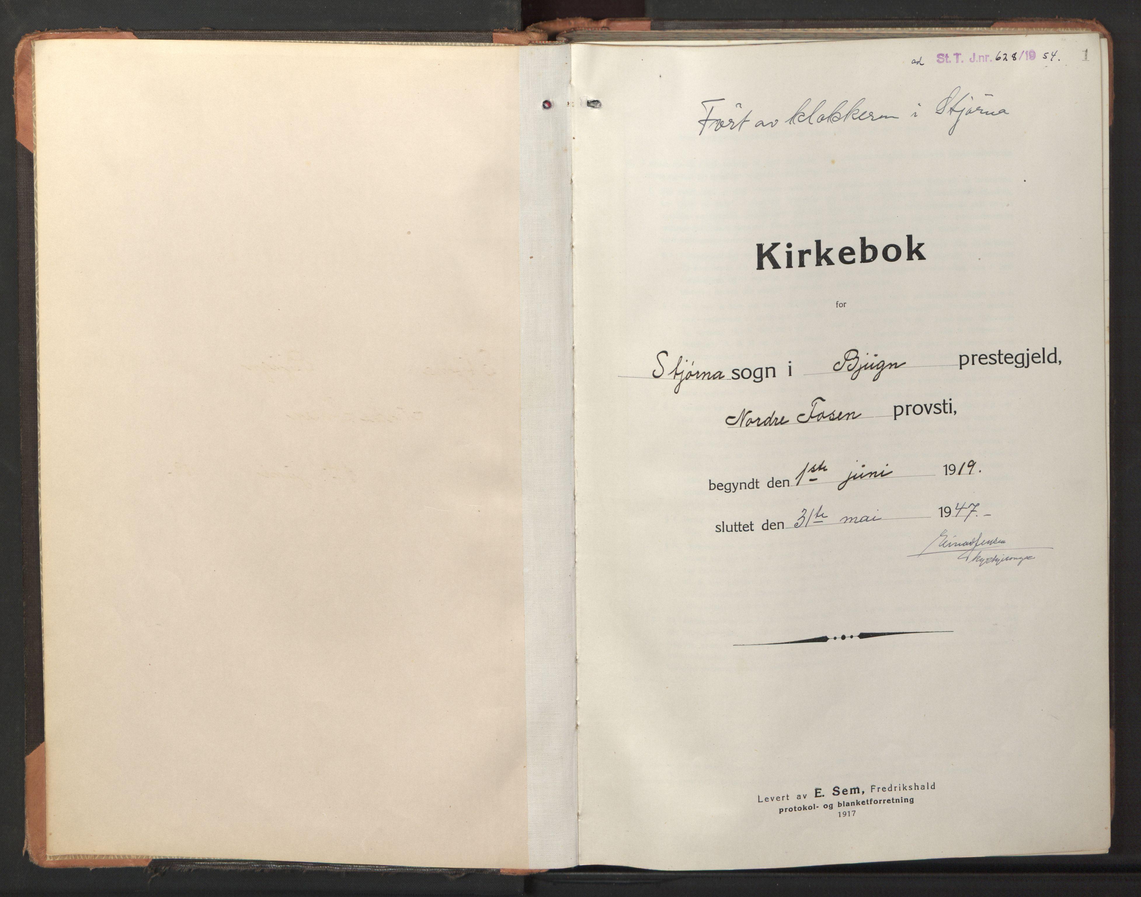 SAT, Ministerialprotokoller, klokkerbøker og fødselsregistre - Sør-Trøndelag, 653/L0658: Klokkerbok nr. 653C02, 1919-1947, s. 1