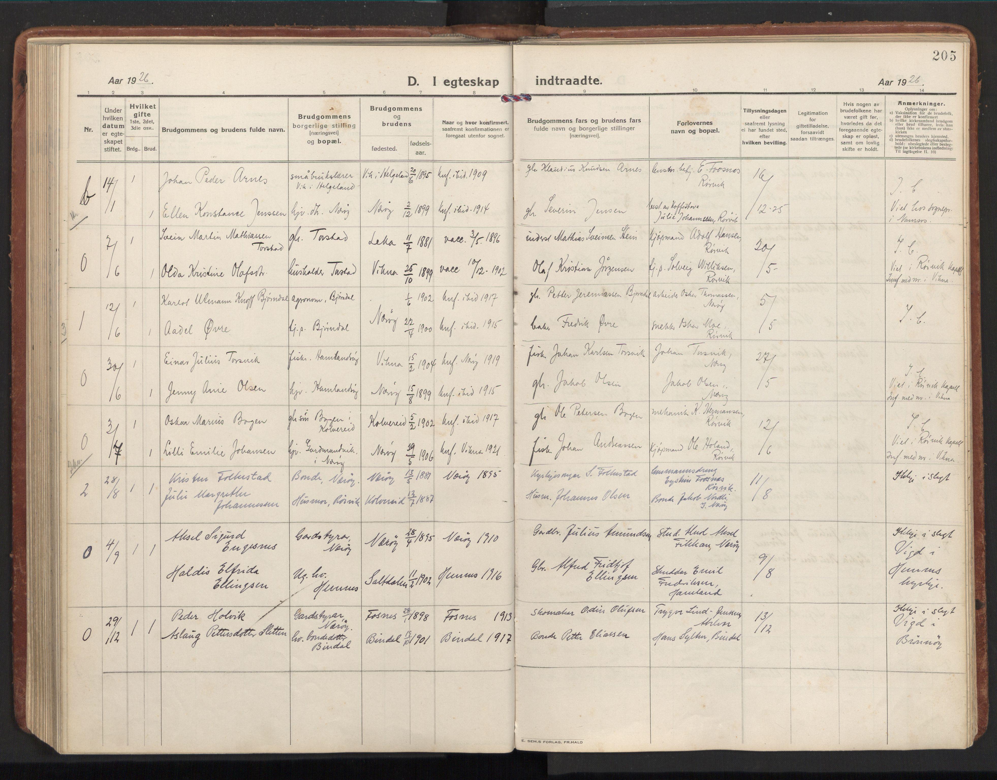 SAT, Ministerialprotokoller, klokkerbøker og fødselsregistre - Nord-Trøndelag, 784/L0678: Ministerialbok nr. 784A13, 1921-1938, s. 205