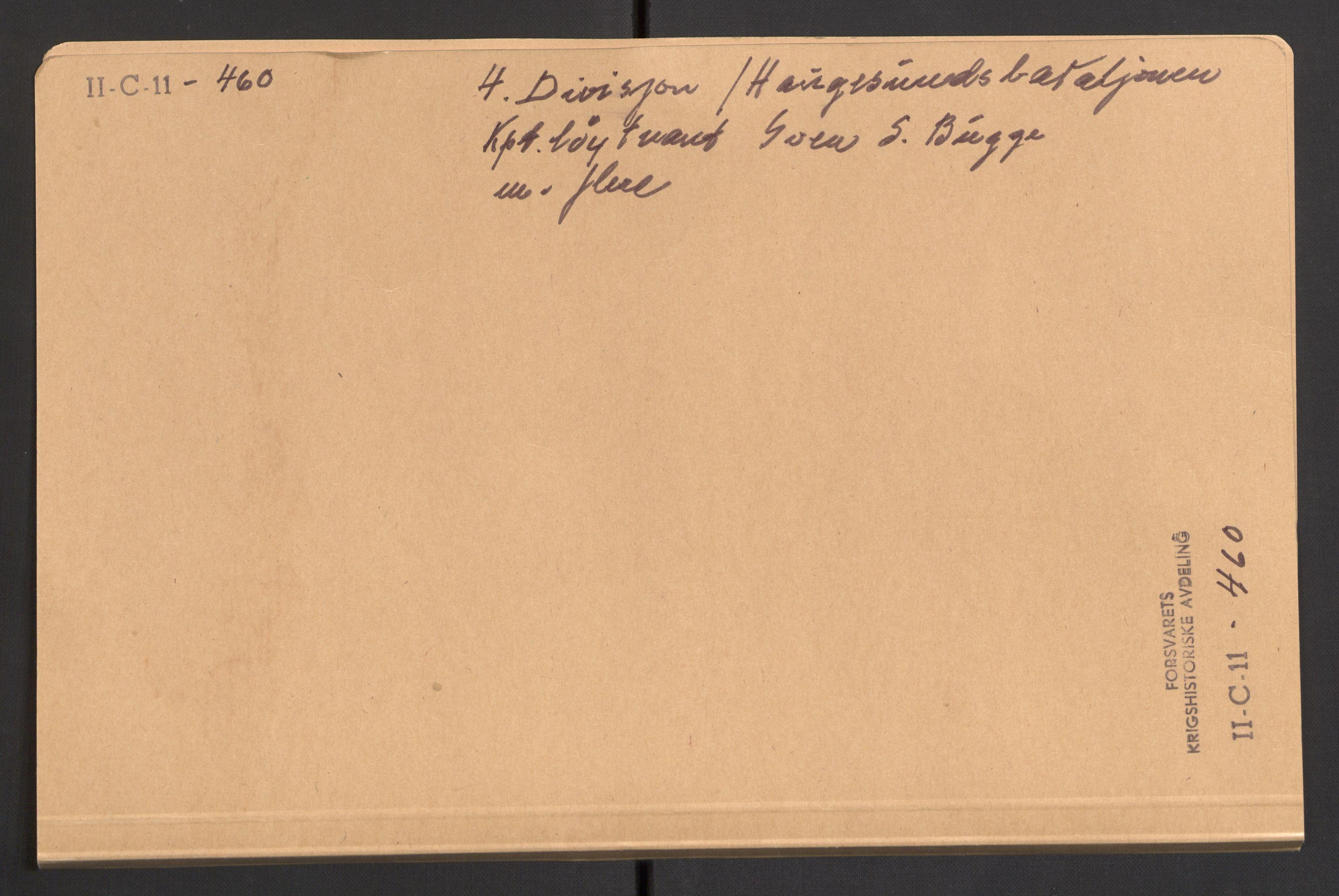 RA, Forsvaret, Forsvarets krigshistoriske avdeling, Y/Yb/L0107: II-C-11-460-464  -  4. Divisjon., 1940, s. 1