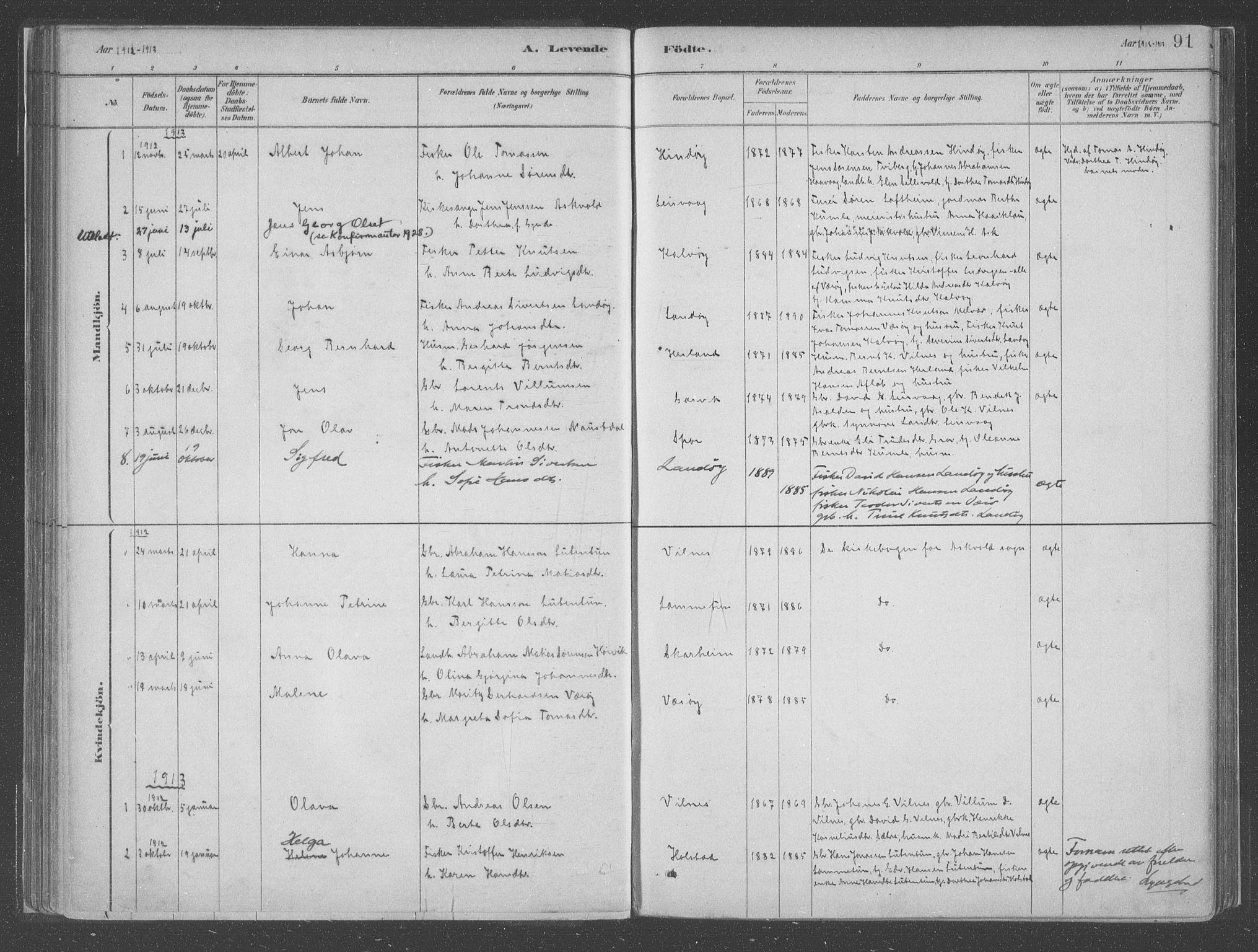 SAB, Askvoll Sokneprestembete, Ministerialbok nr. C  1, 1879-1922, s. 91