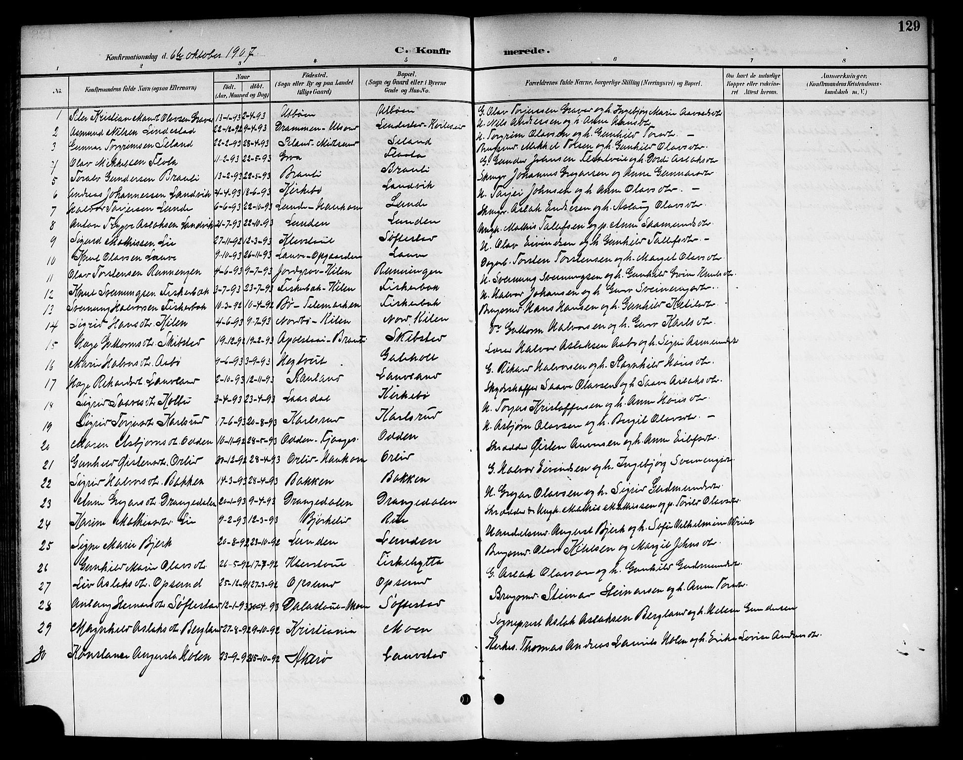 SAKO, Kviteseid kirkebøker, G/Ga/L0002: Klokkerbok nr. I 2, 1893-1918, s. 129