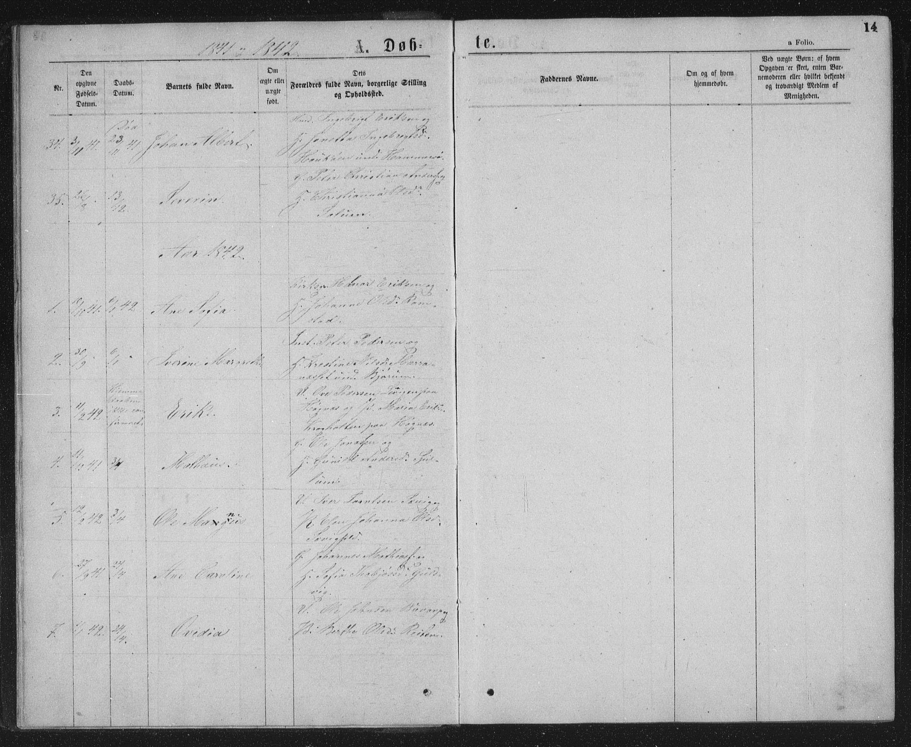 SAT, Ministerialprotokoller, klokkerbøker og fødselsregistre - Nord-Trøndelag, 768/L0566: Ministerialbok nr. 768A01, 1836-1865, s. 14