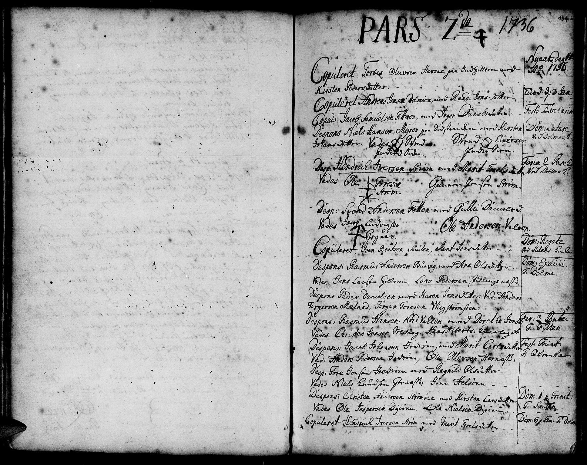 SAT, Ministerialprotokoller, klokkerbøker og fødselsregistre - Sør-Trøndelag, 634/L0525: Ministerialbok nr. 634A01, 1736-1775, s. 104