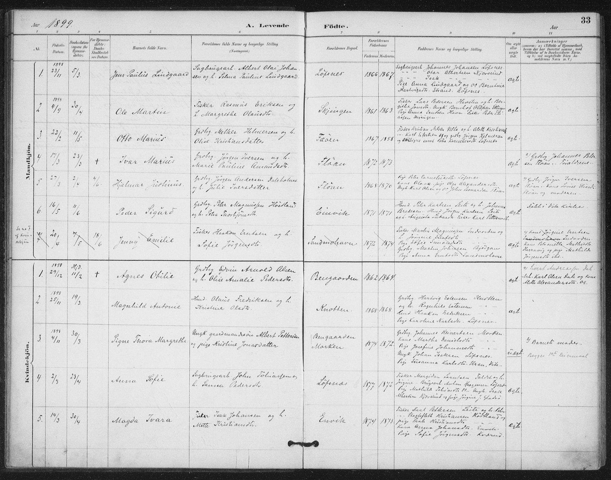 SAT, Ministerialprotokoller, klokkerbøker og fødselsregistre - Nord-Trøndelag, 772/L0603: Ministerialbok nr. 772A01, 1885-1912, s. 33